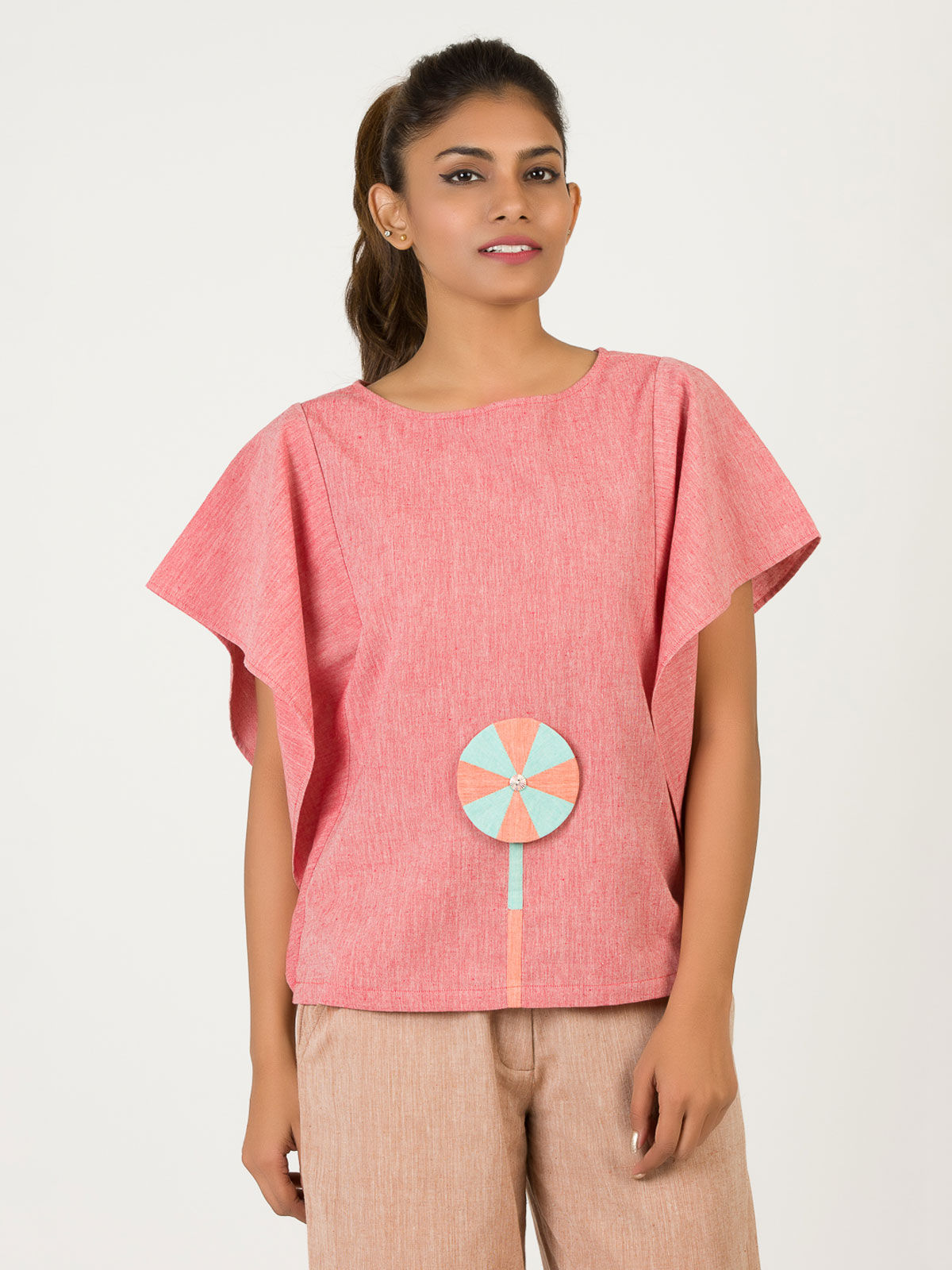 Red Khadi Patched Kaftan Top