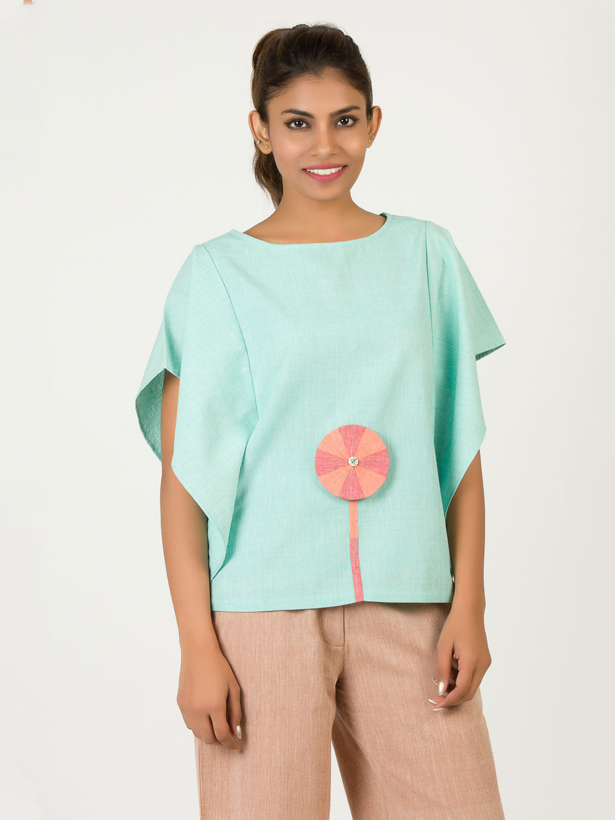 Turquoise Khadi Patched Kaftan Top