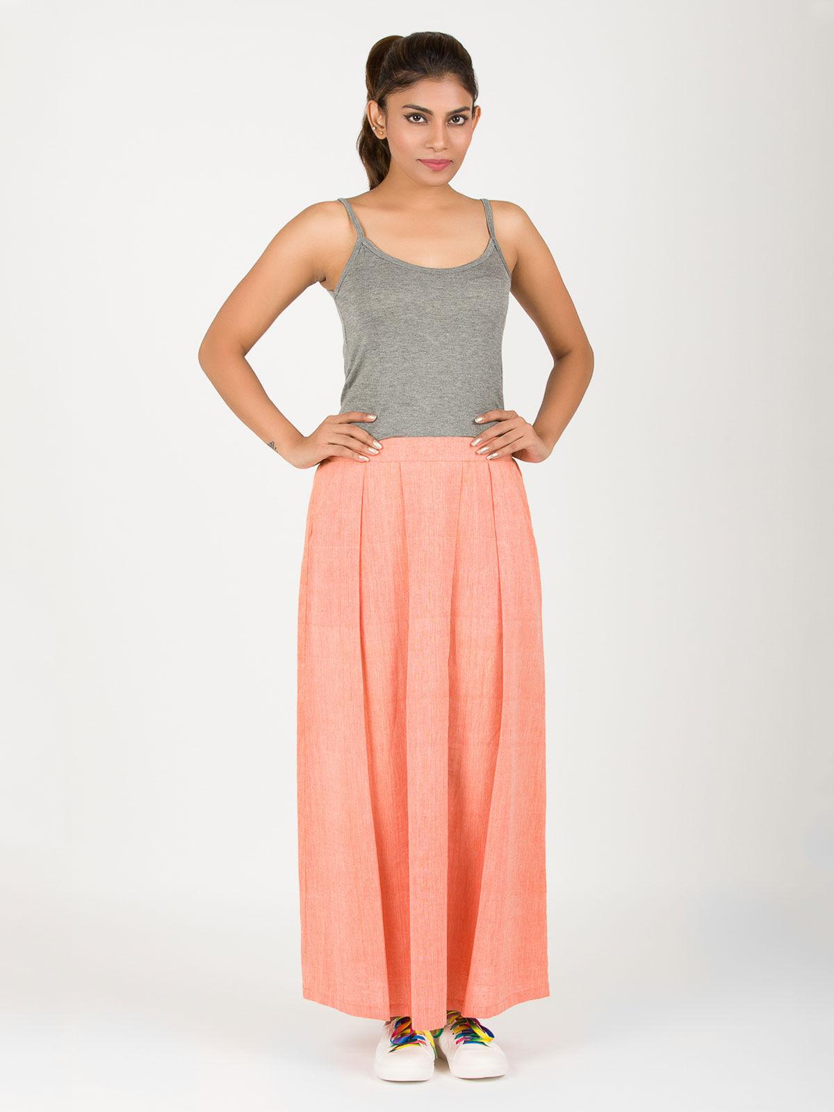 Orange khadi flowy skirt