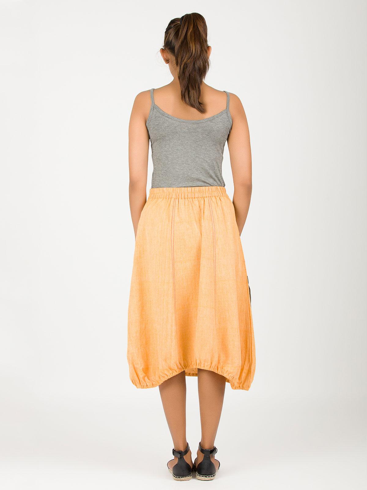 Yellow khadi hem skirt