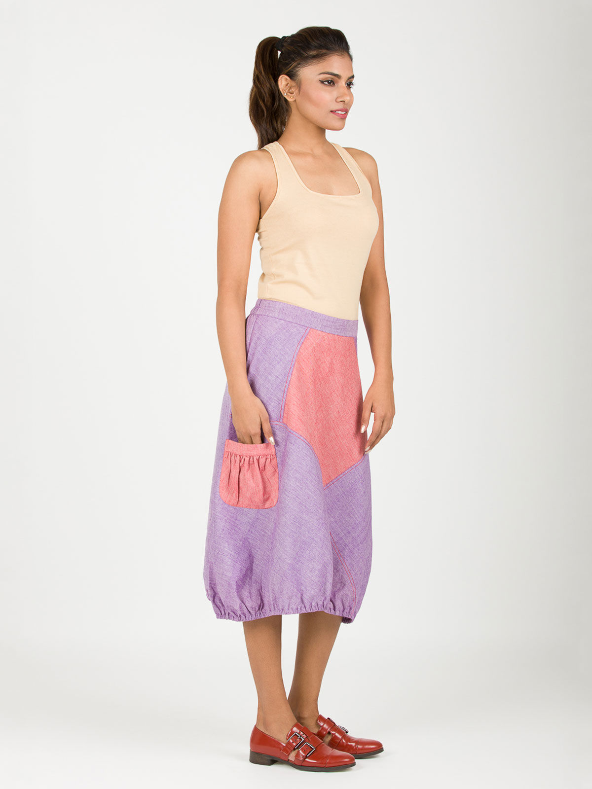 Purple khadi hem skirt