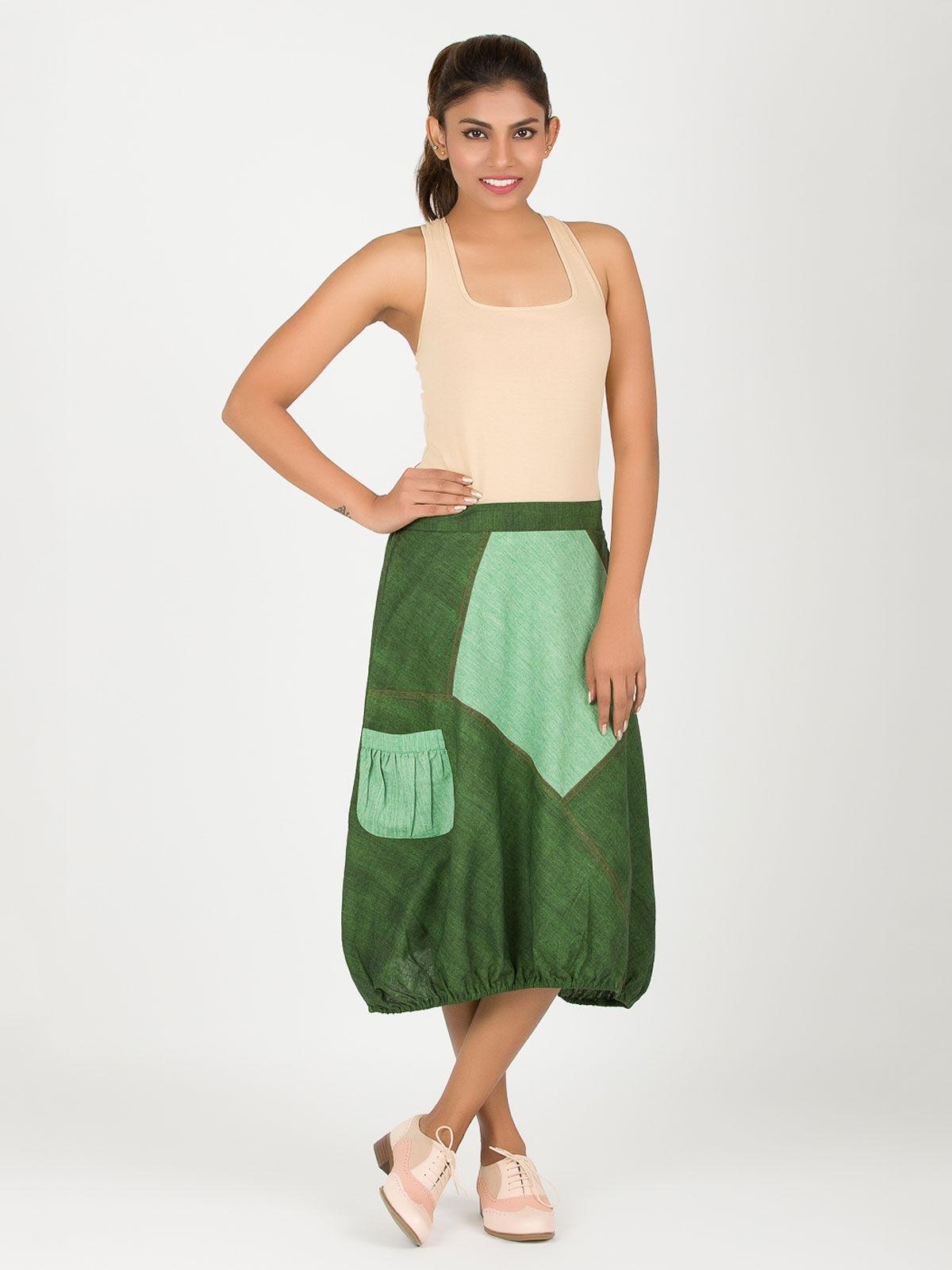Dark Green Khadi Hem Skirt