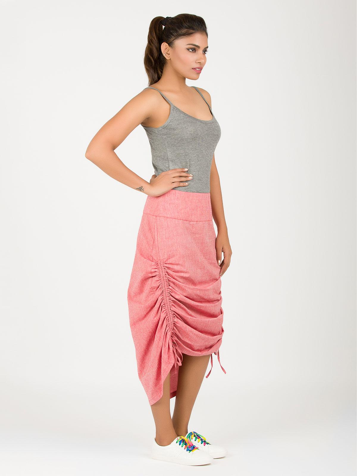 Red khadi string skirt