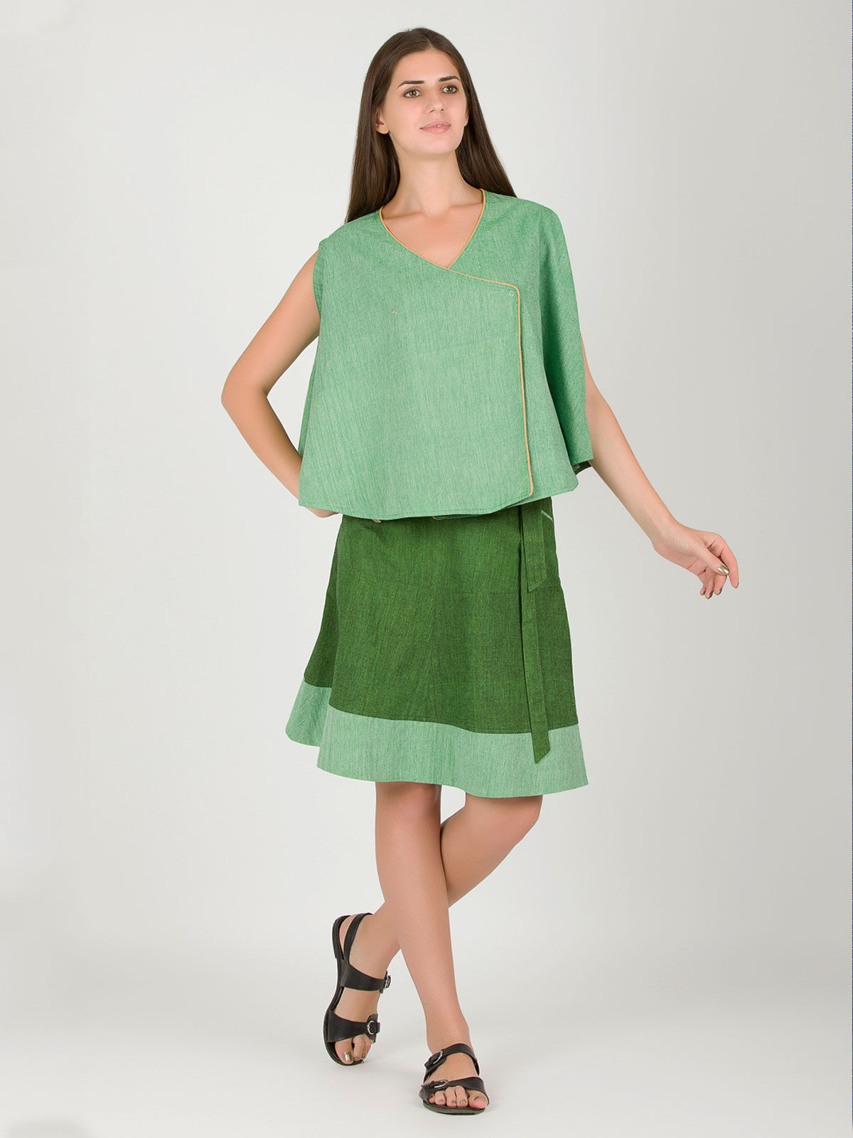 Light green khadi reversible crossed cape