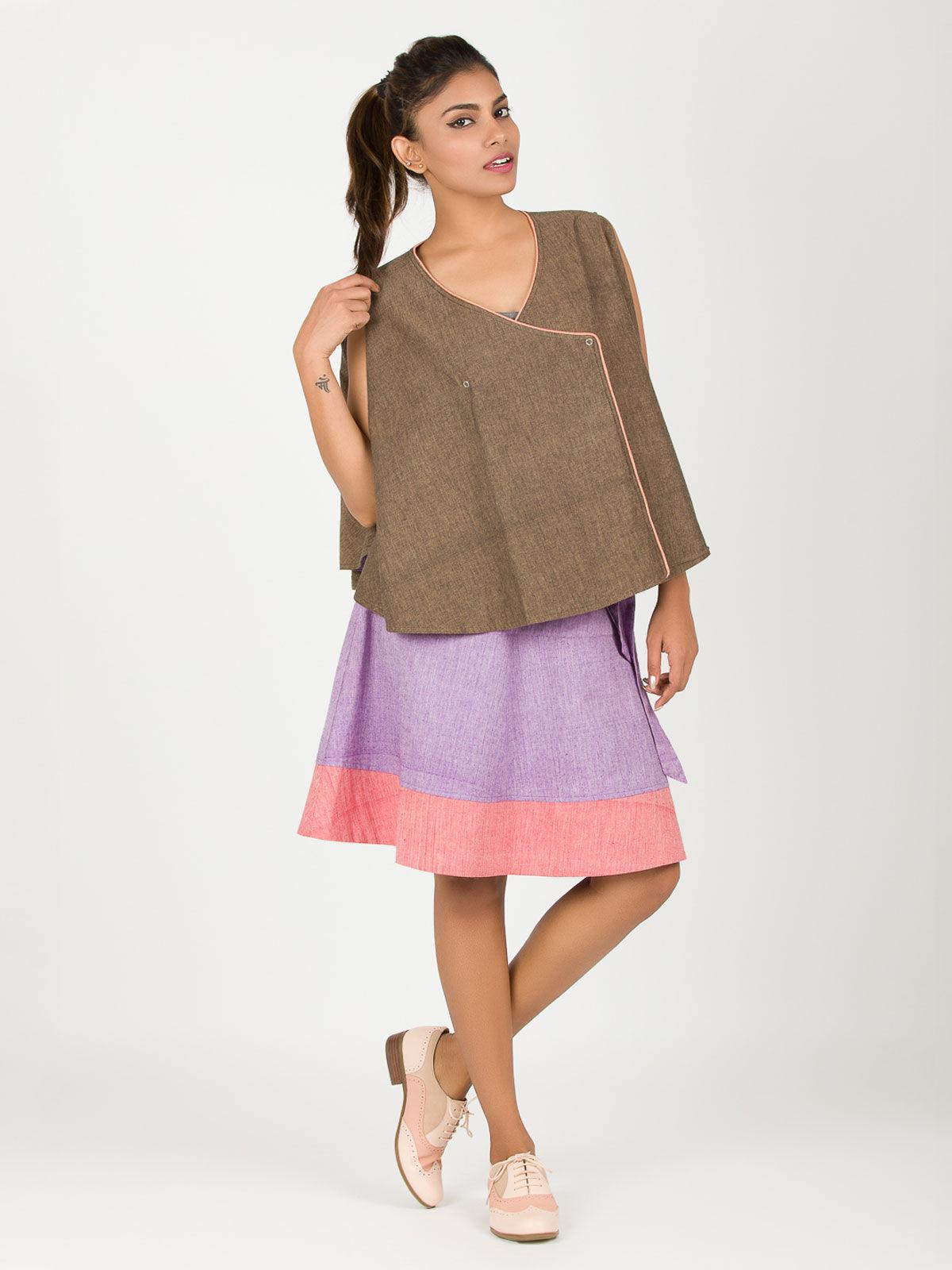 Brown khadi reversible crossed cape