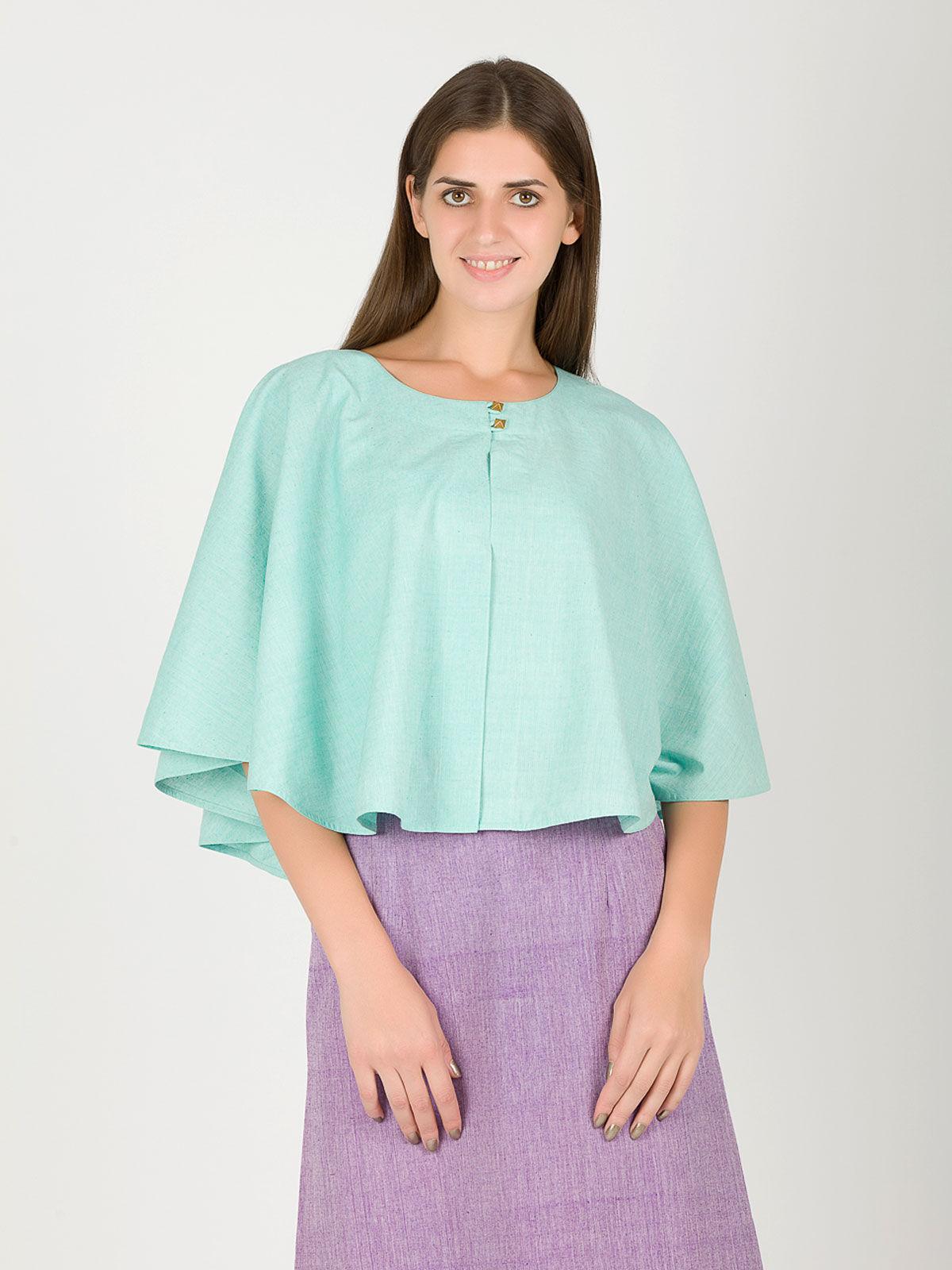 Turquoise khadi cape