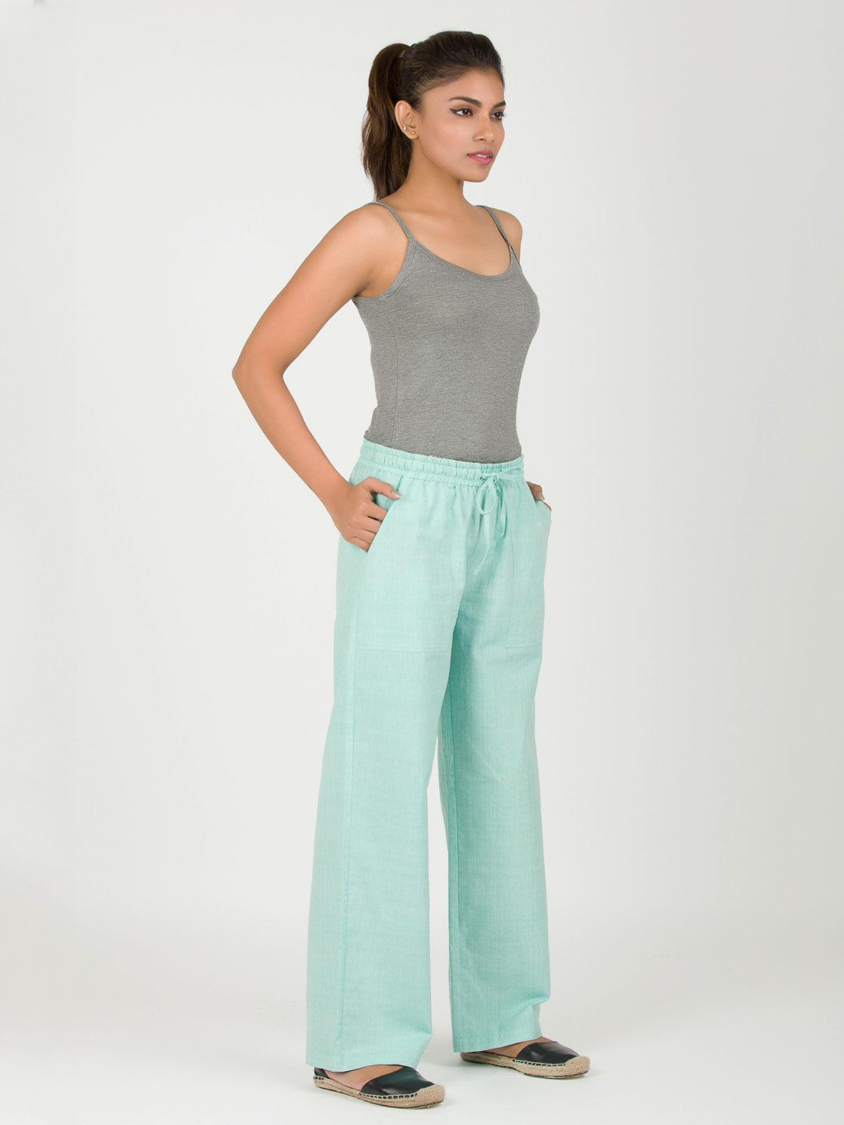Turquoise string khadi pants