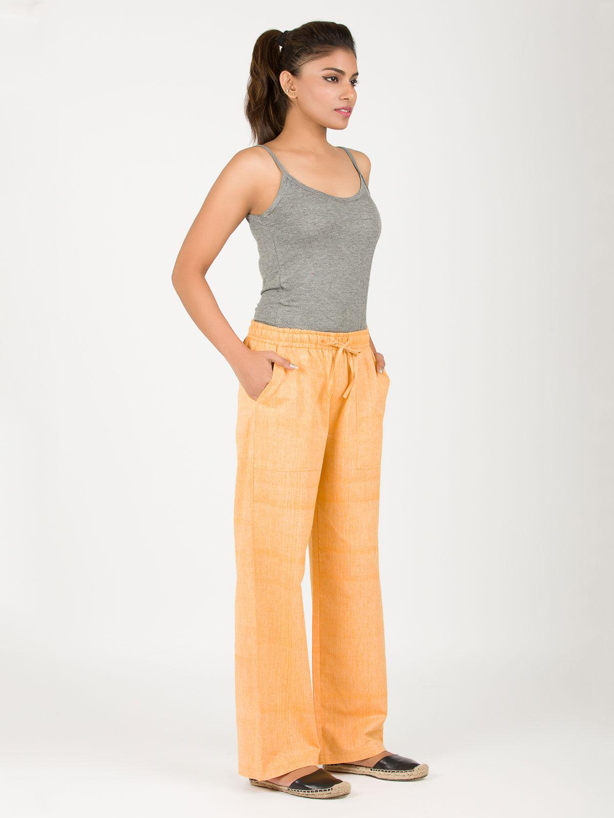 Yellow string khadi pants