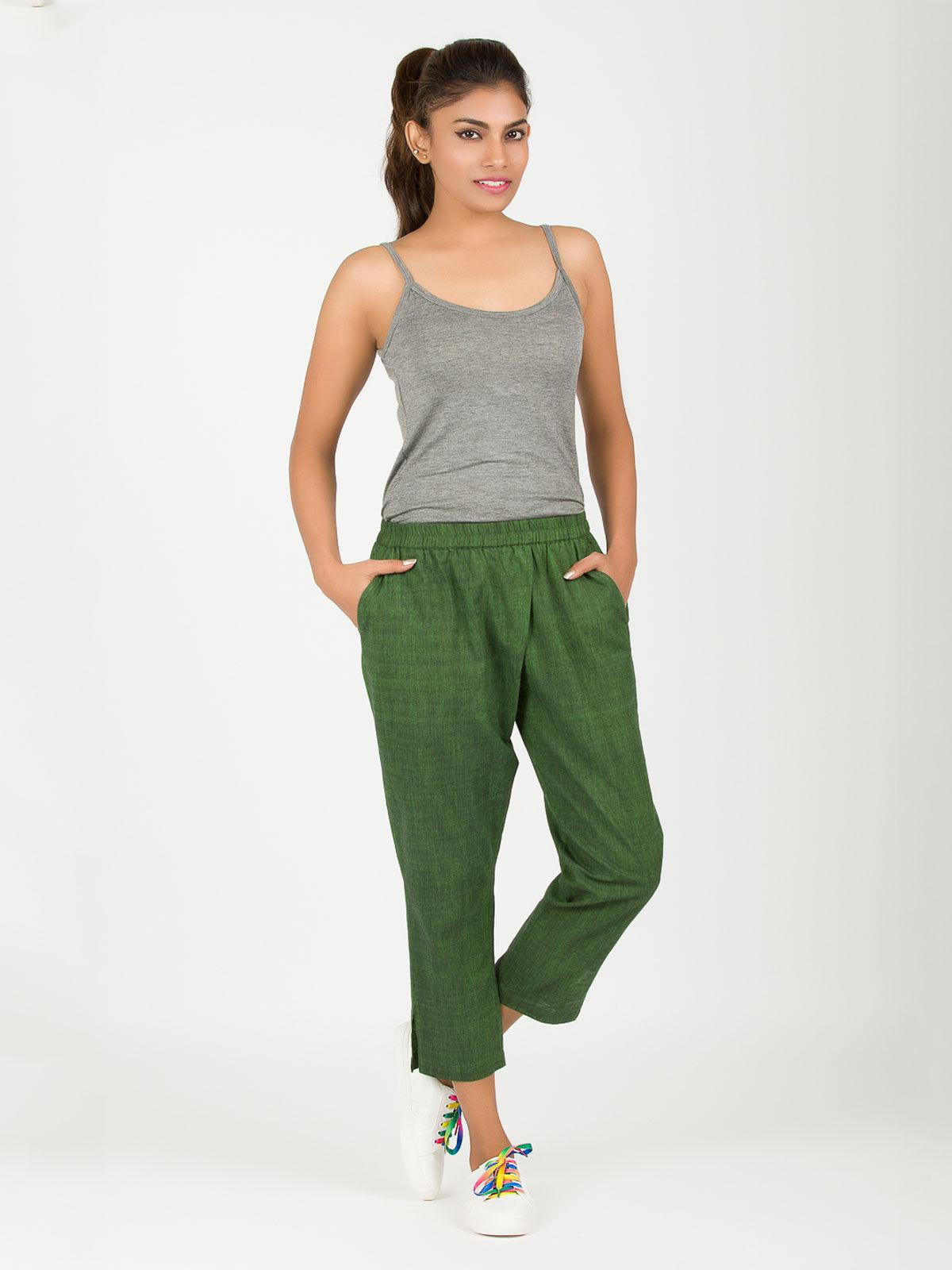 Dark green khadi ankle pants