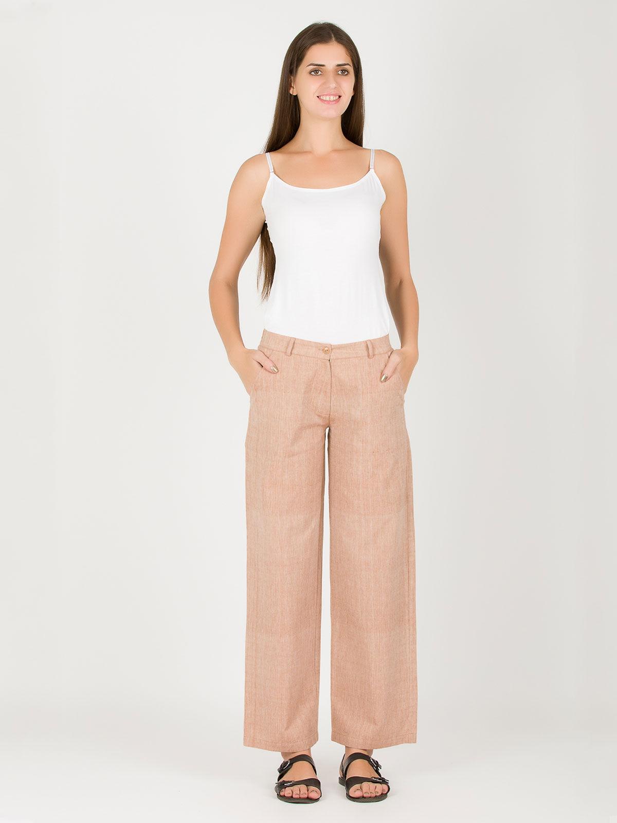 Beige khadi straight up pants