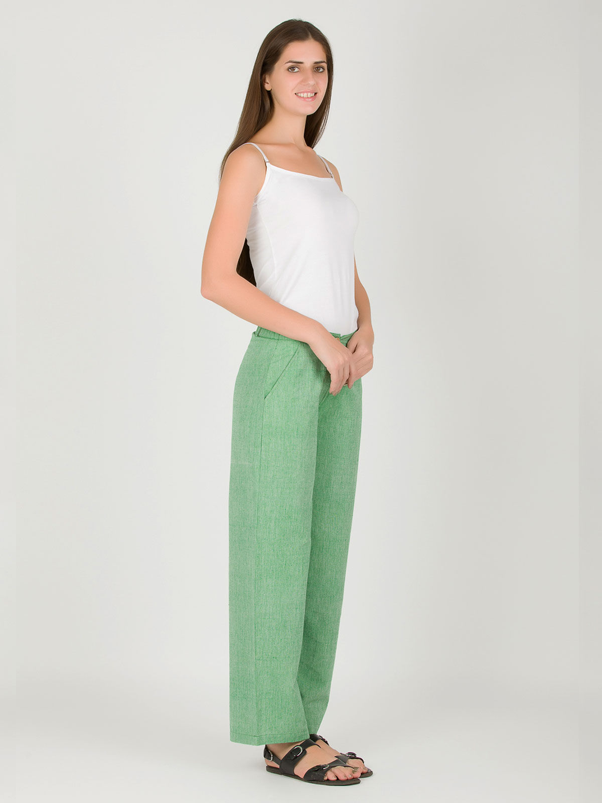 Light green khadi straight up pants