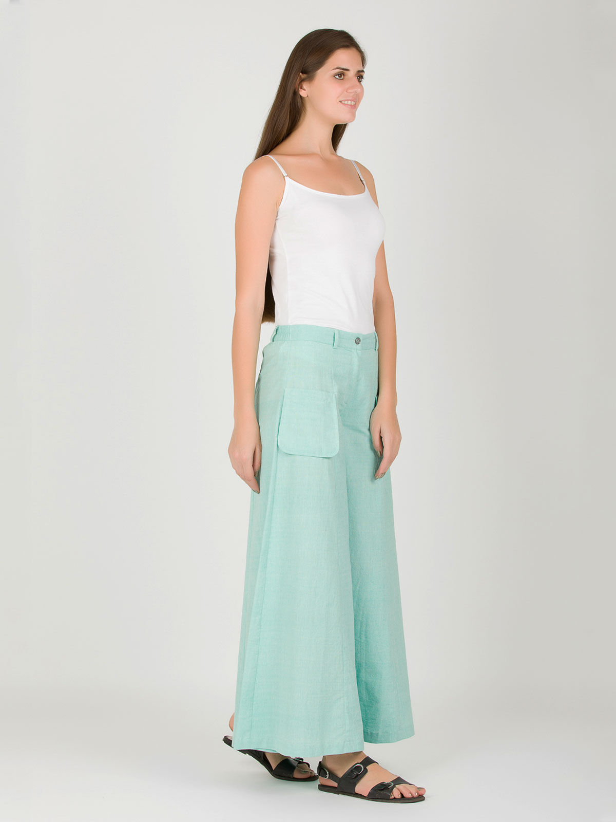 Turquoise Khadi Box Pants