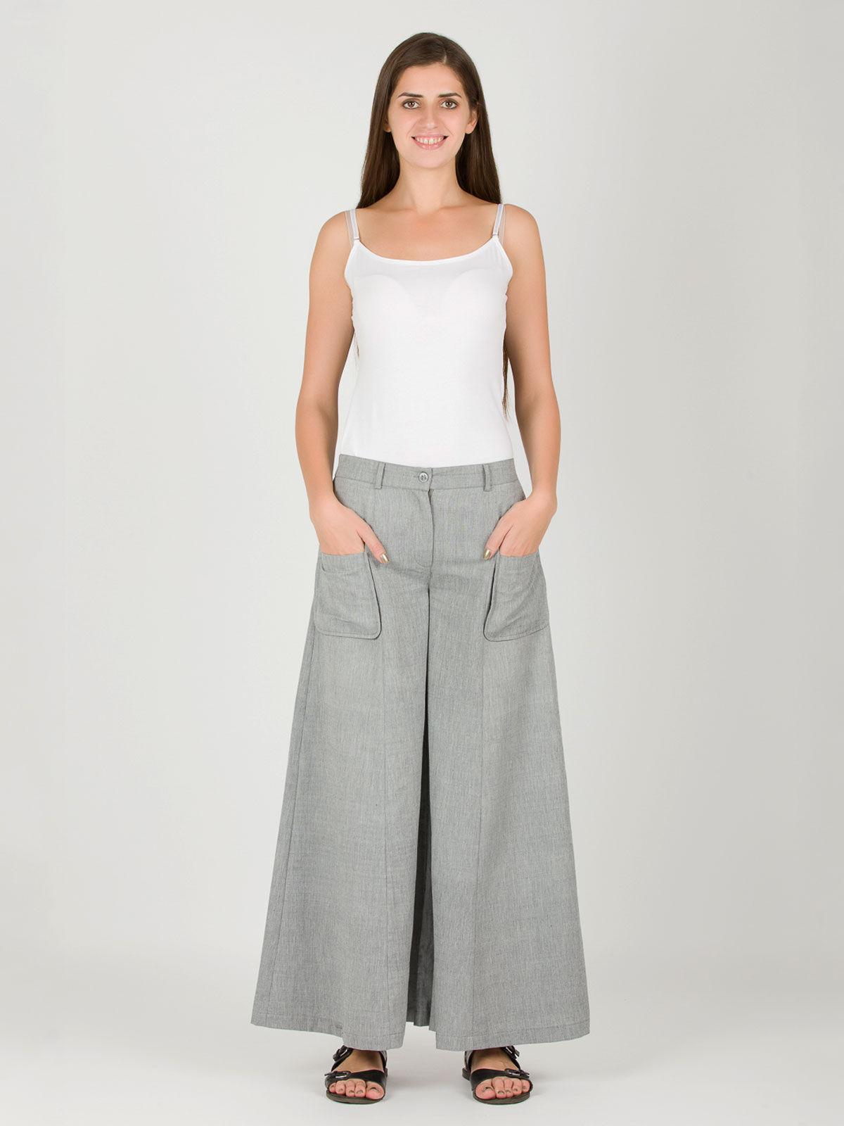 Grey Khadi Box Pants