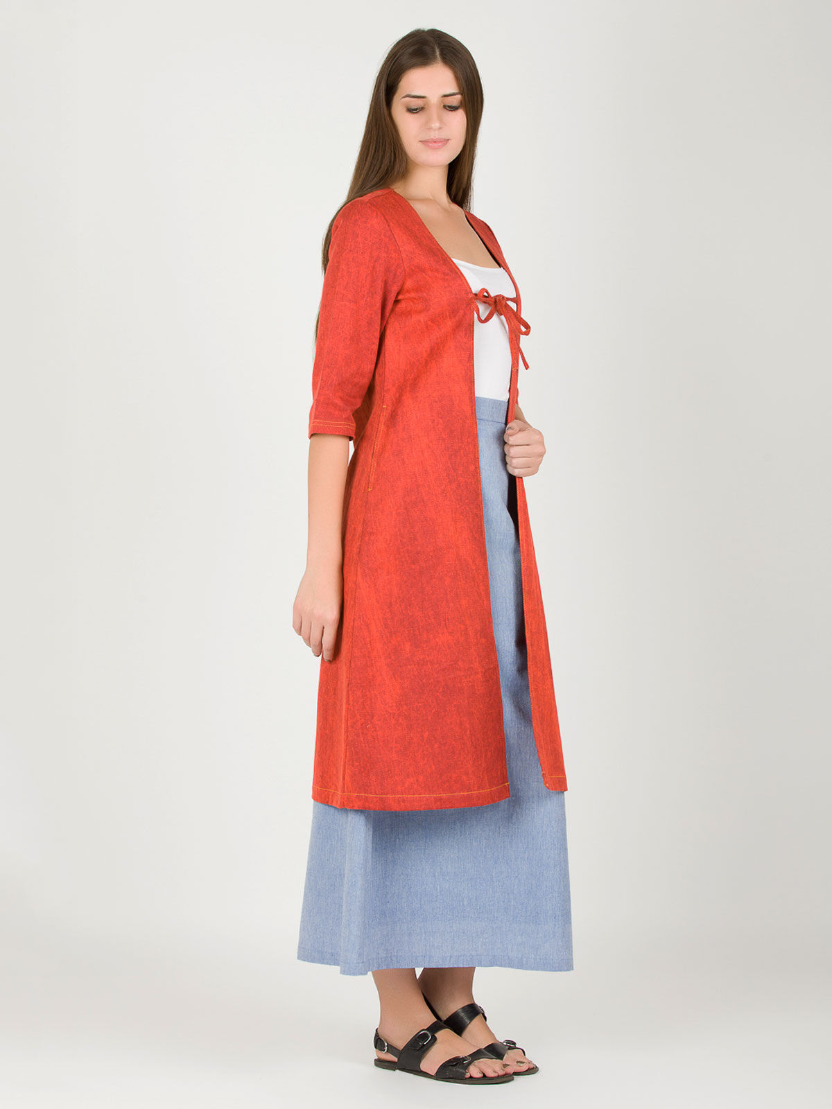 Maroon Long Panelled Khadi Shrug