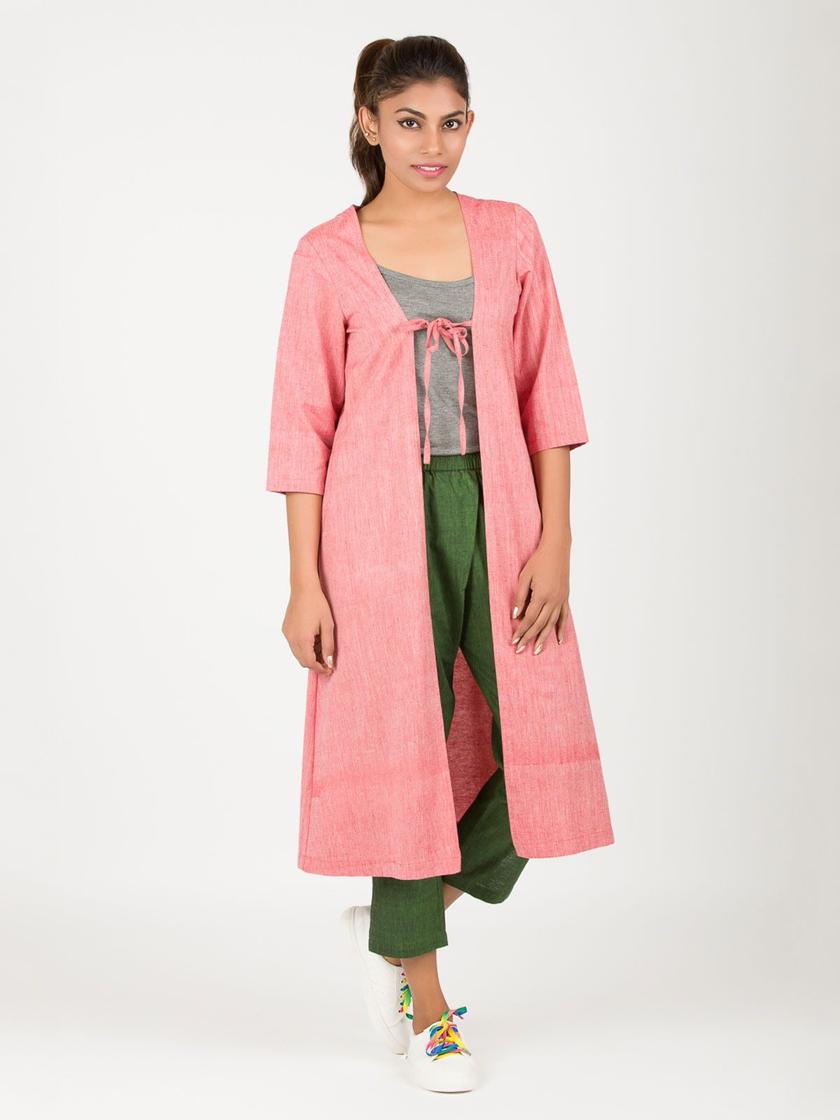Red Long Khadi Shrug
