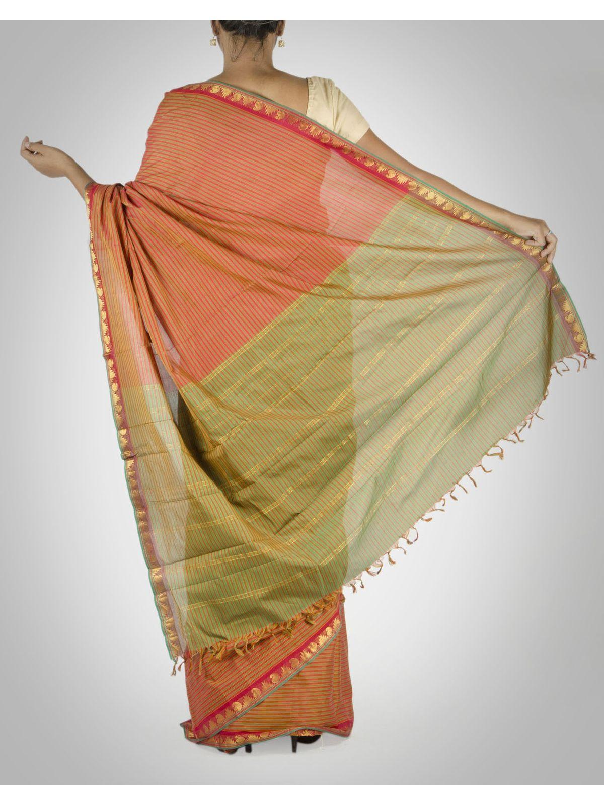 Multi-Color striped Cotton Silk Saree