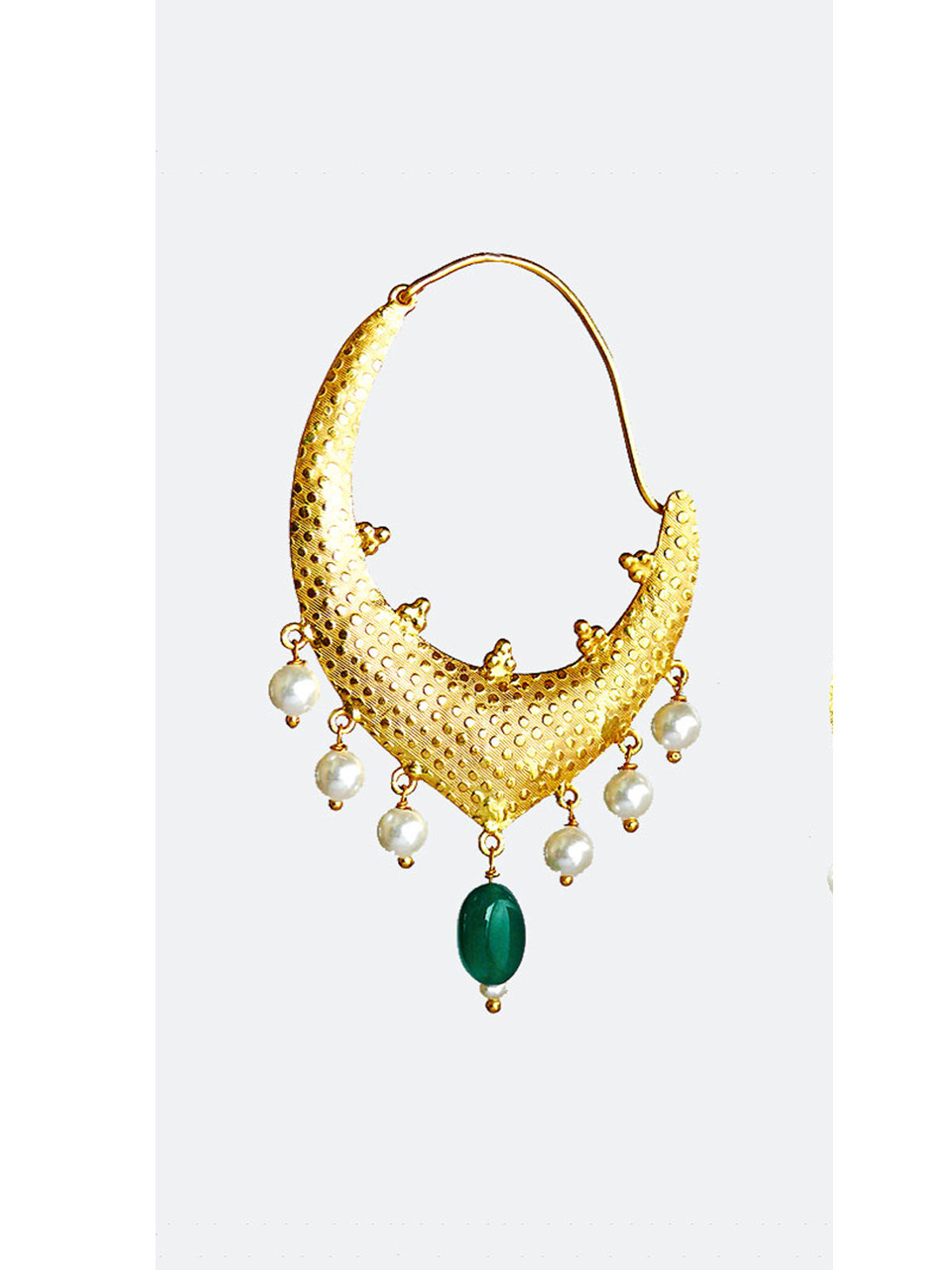 Siddhaa golden color with green beeds earrings