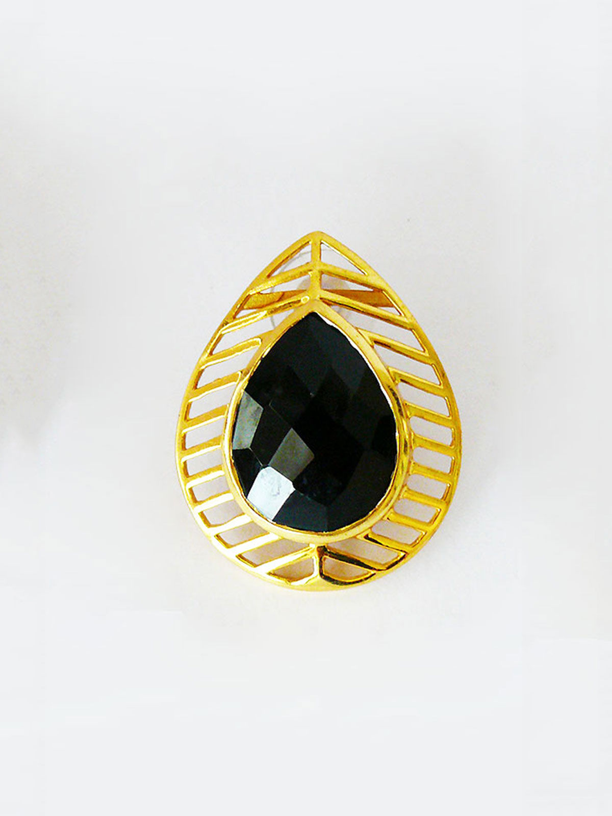 Siddhaa gold plated sterling black stone studded studs
