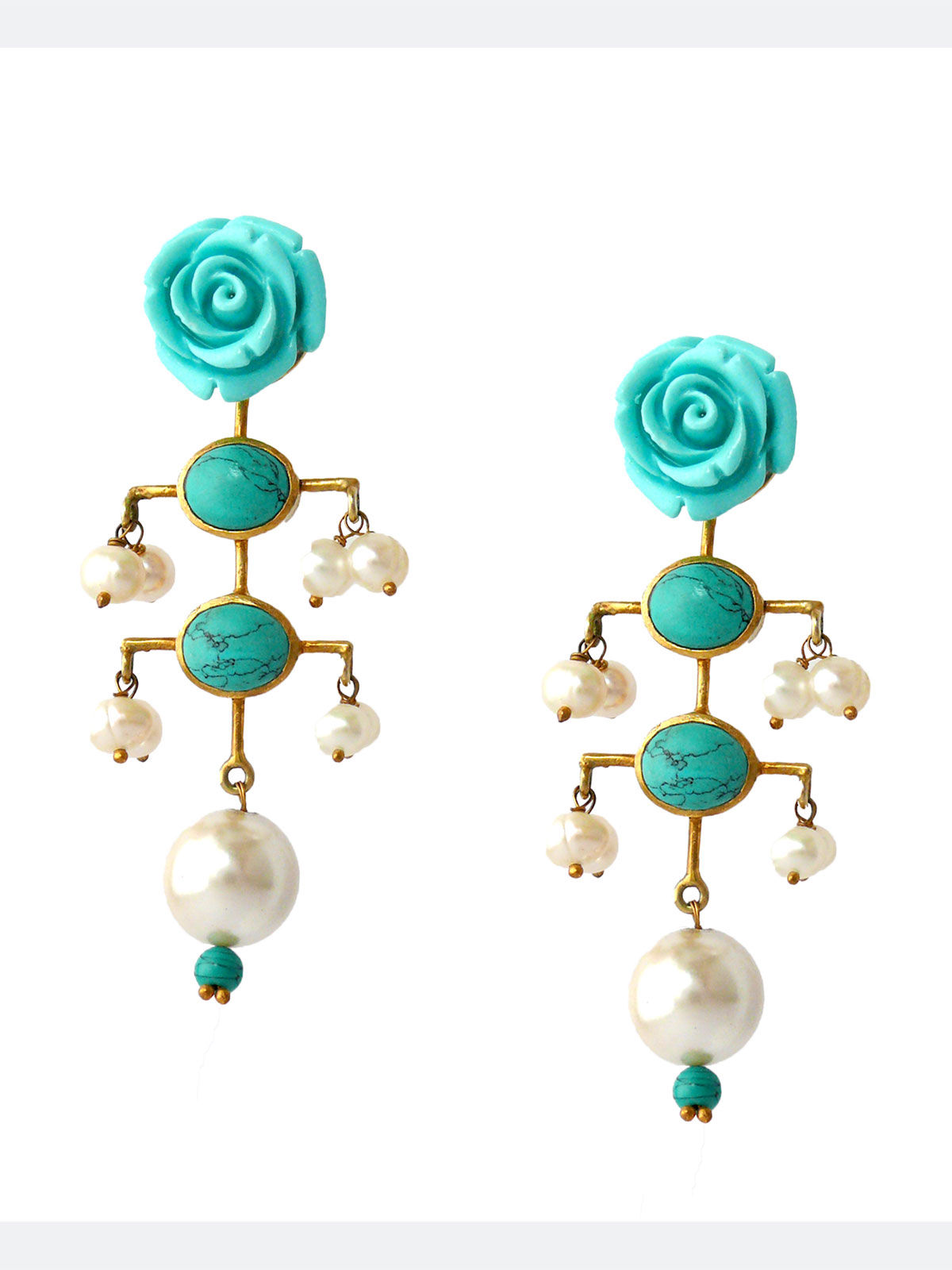 Siddhaa rose shaped silver brass long turquoise earrings