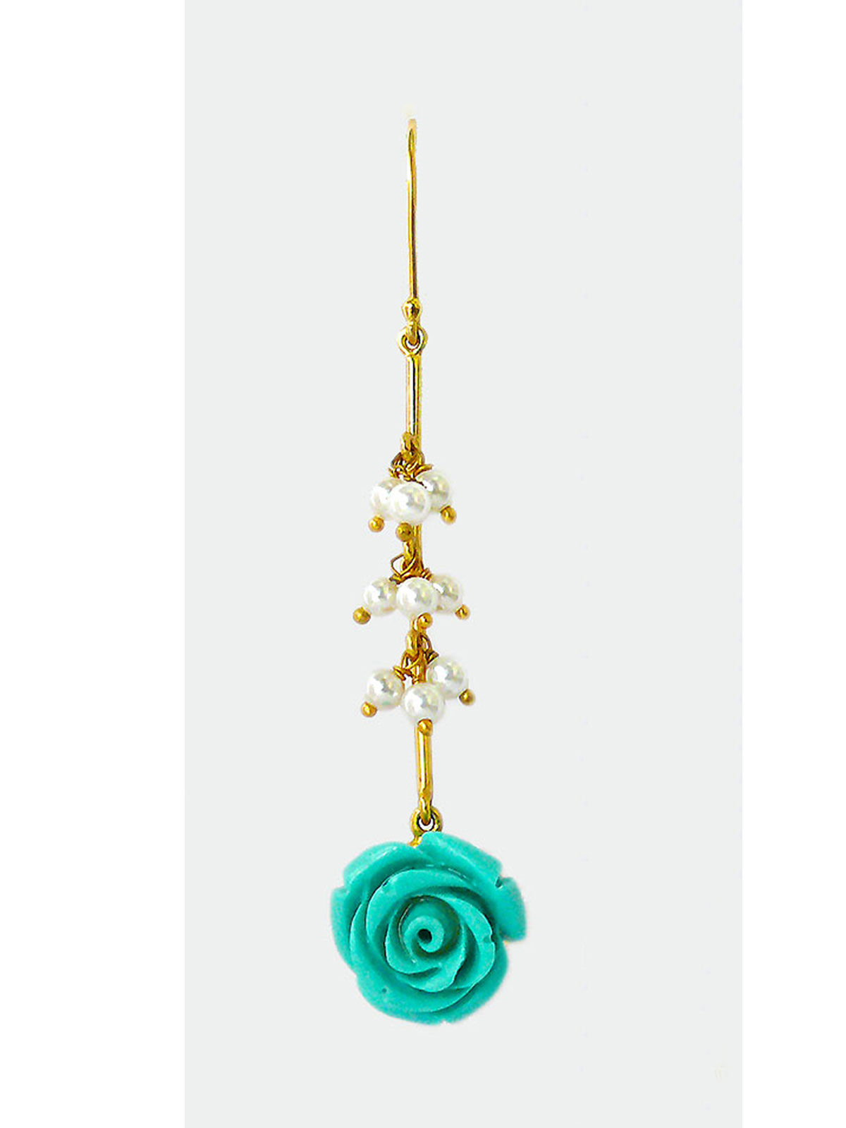 Siddhaa rose shaped golden silver long turquoise earrings