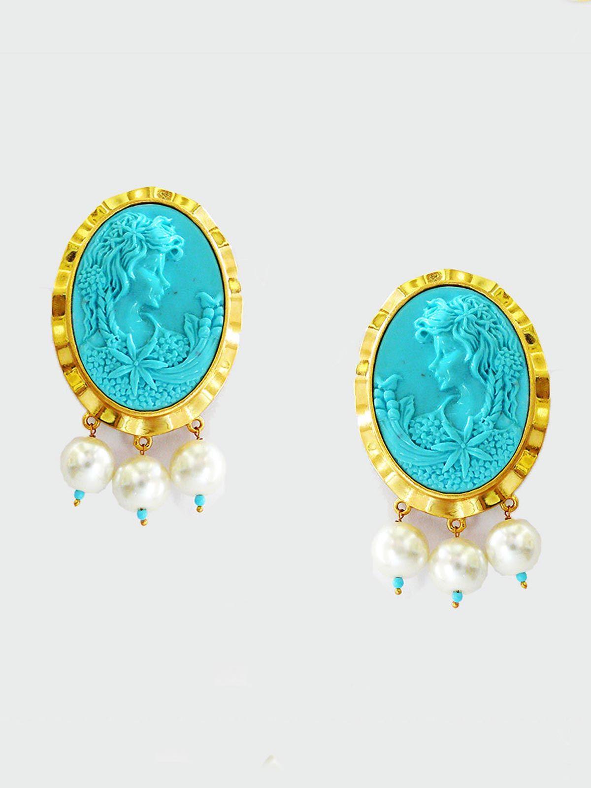 Siddhaa stone studded golden brass  earrings