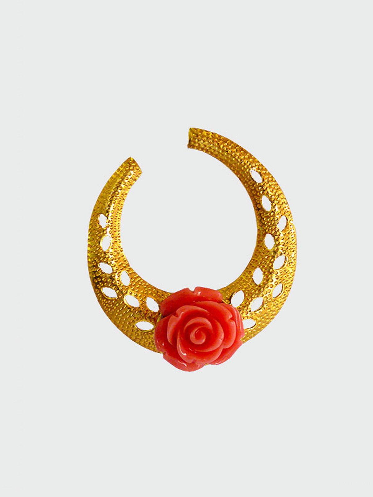 Siddhaa rose studded golden brass  earrings