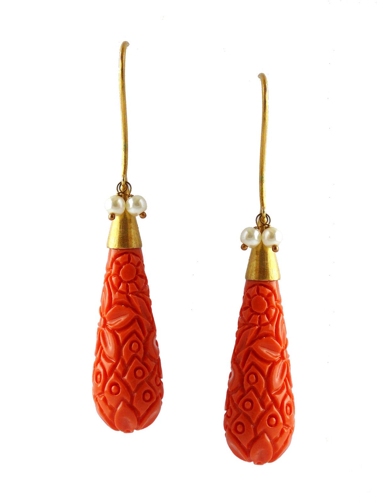 Siddhaa tangerine drops orange color earrings