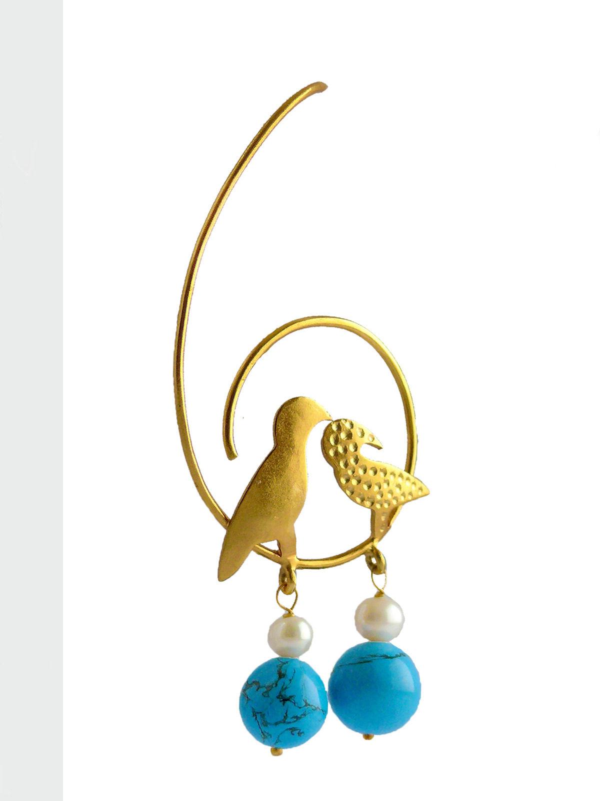 Siddhaa chirping birds design in golden color earrings