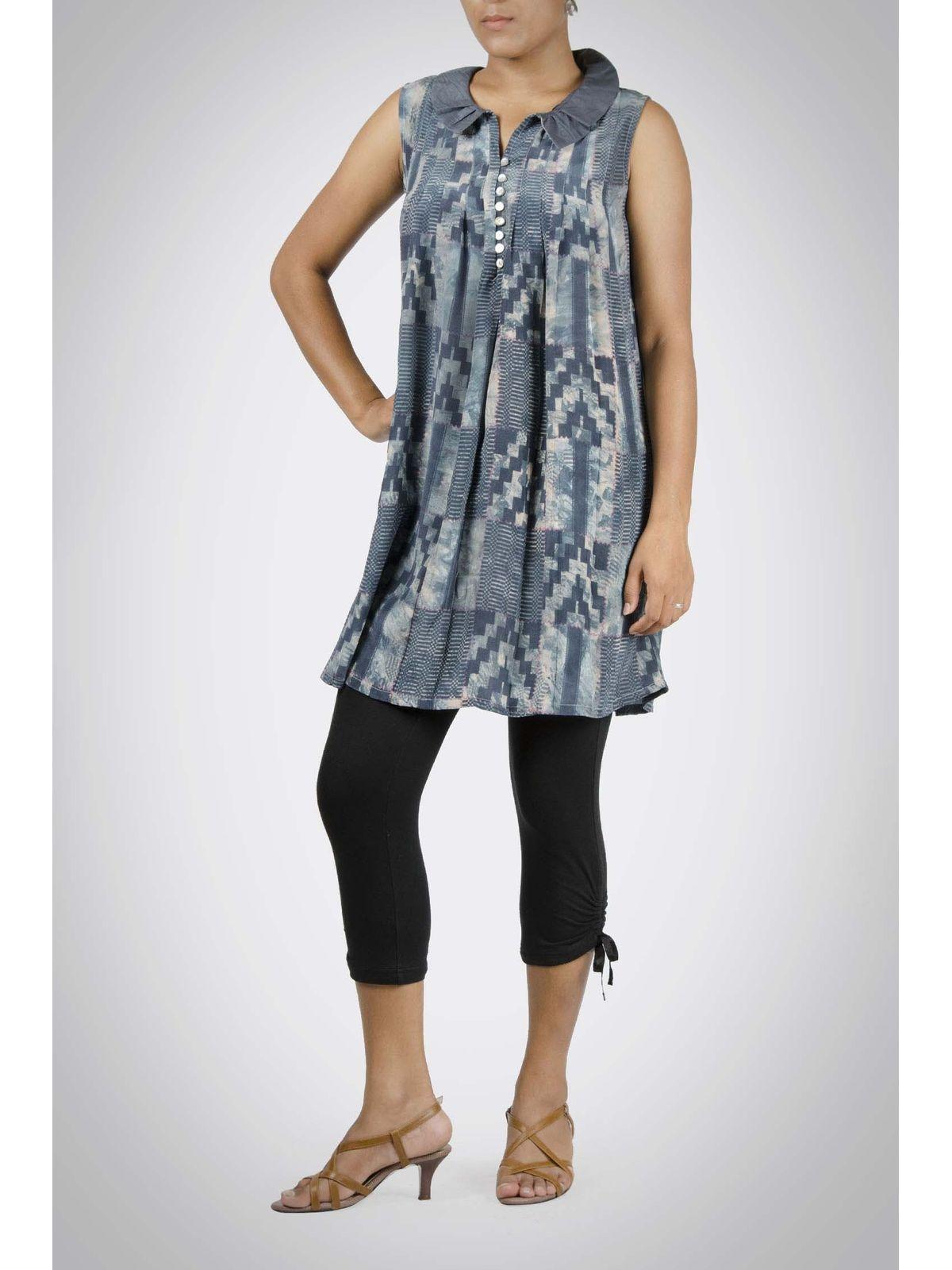 Indigo Printed Silk Tunic