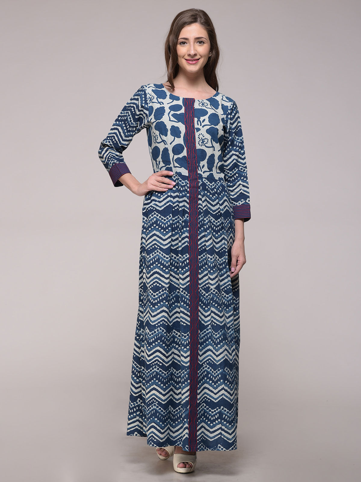DABU INDIGO DYED EMBROIDERED FLORAL DRESS WITH PLACKET