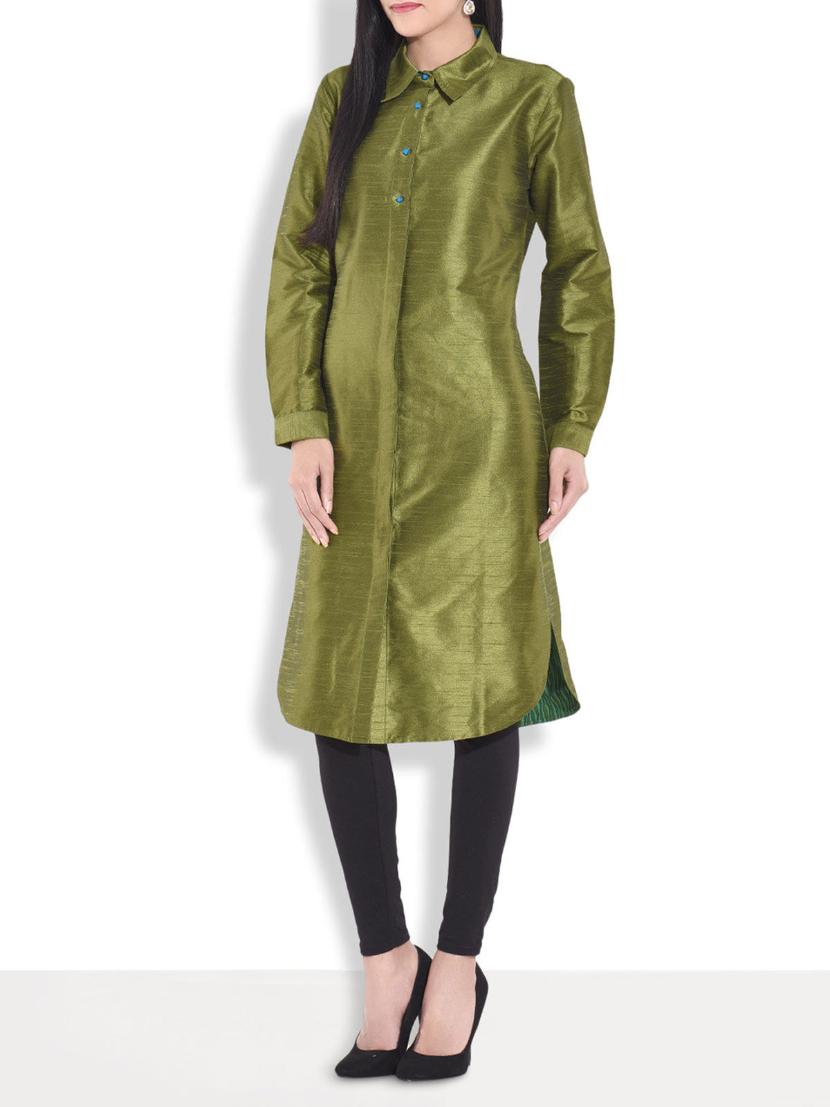 Raw silk collared kurta