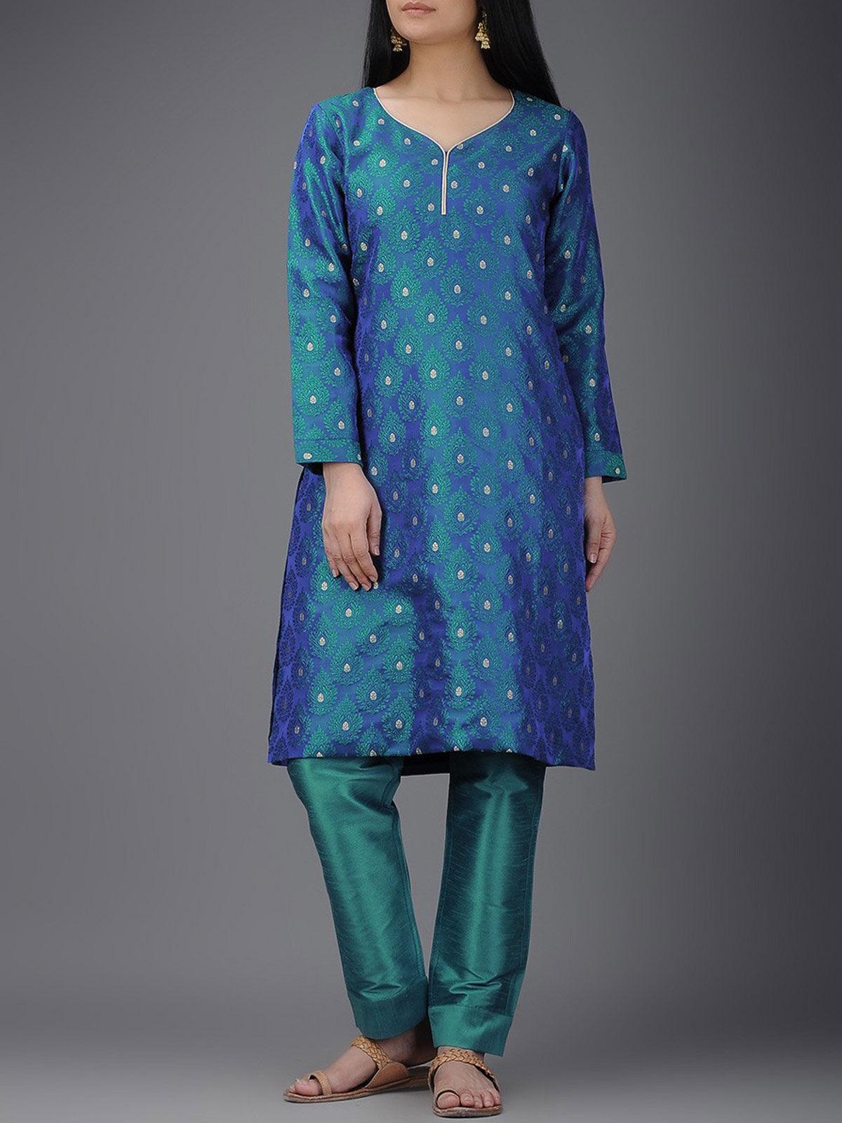 Blue green silk tanchoi kurta