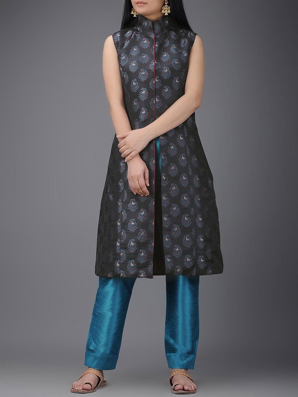 Black tanchoi silk high collar jacket