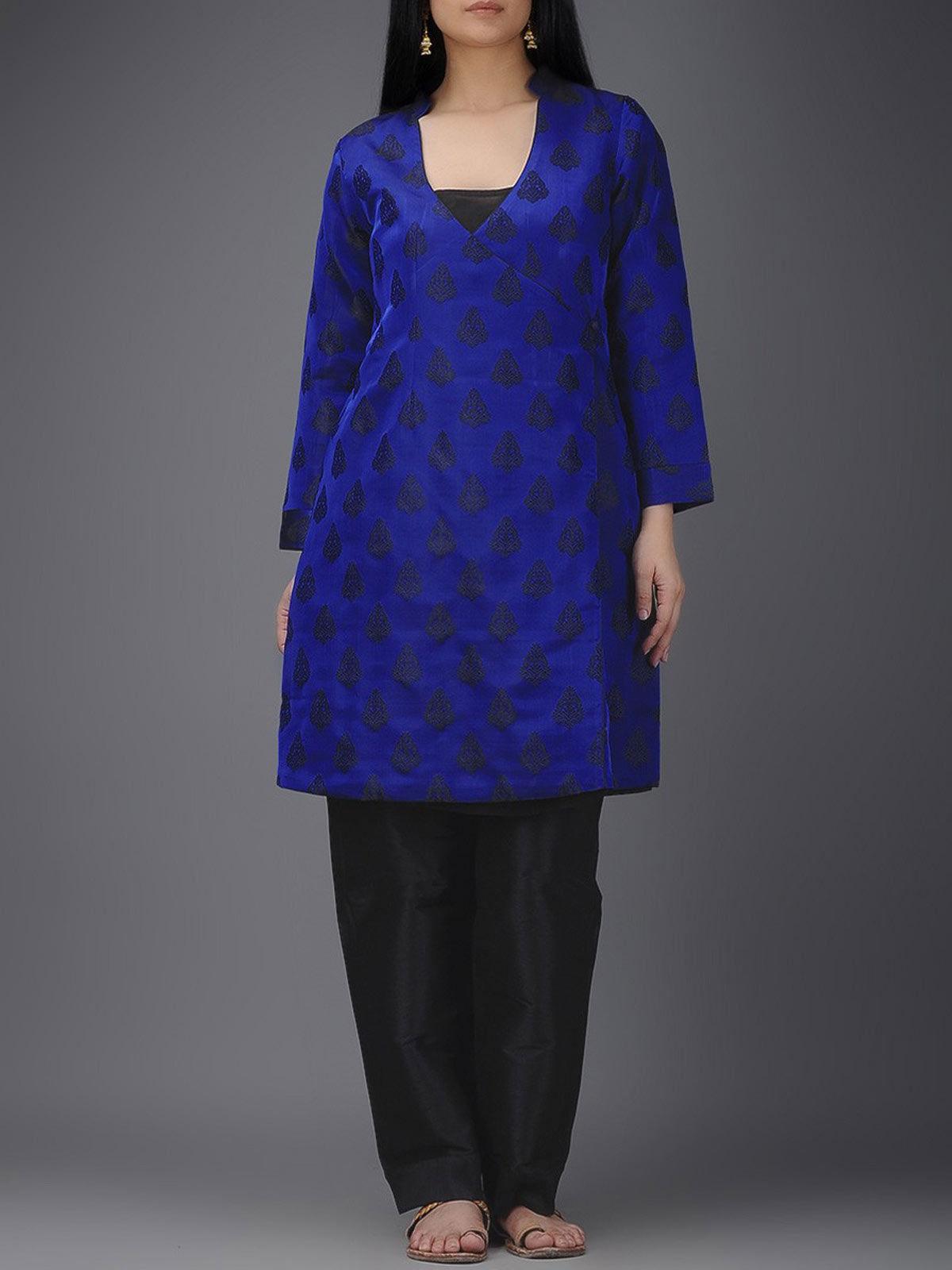 Ink blue silk tanchoi angarakha kurta