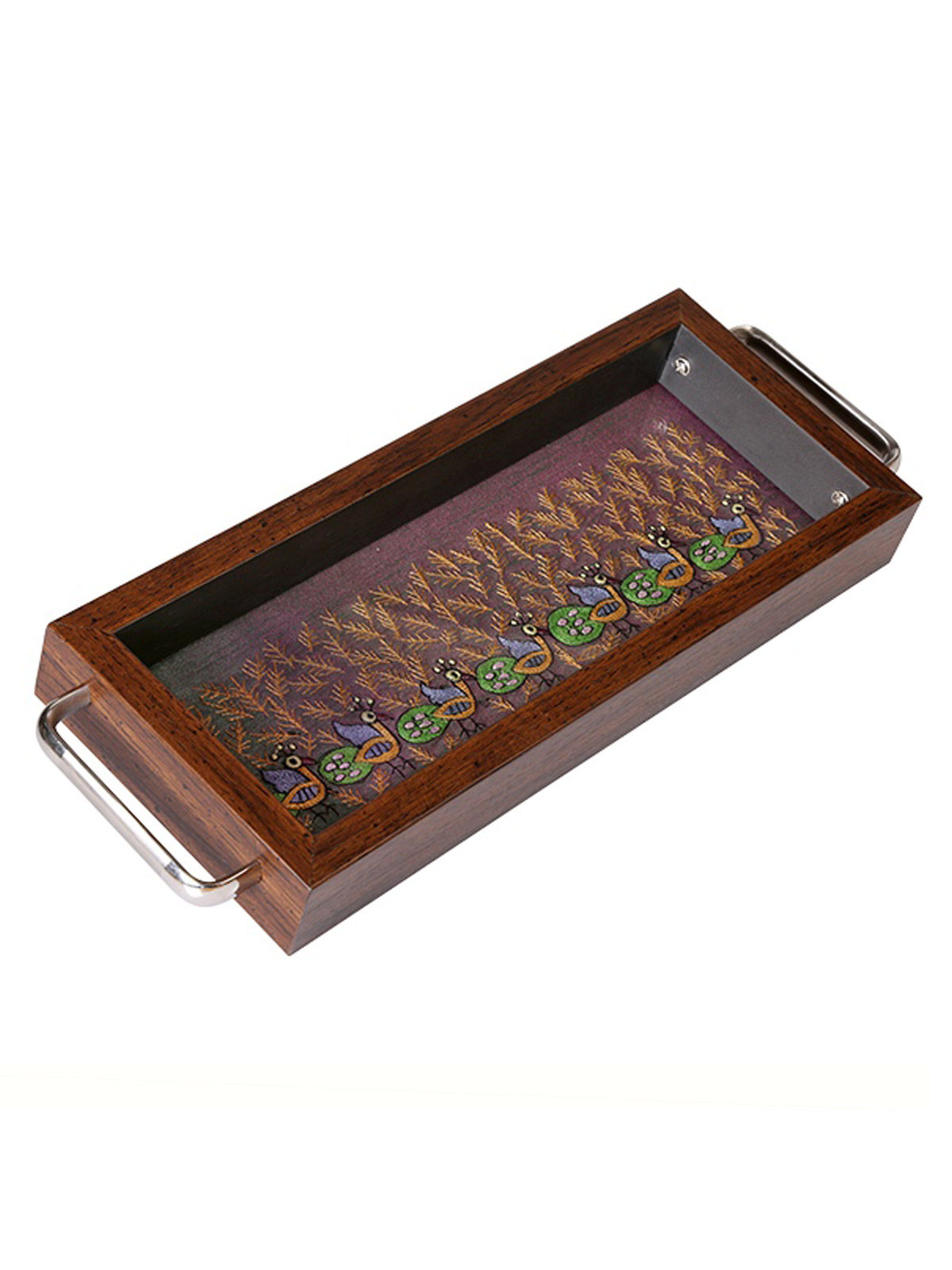 I Village Peacock Design Steel Designer Serving Tray