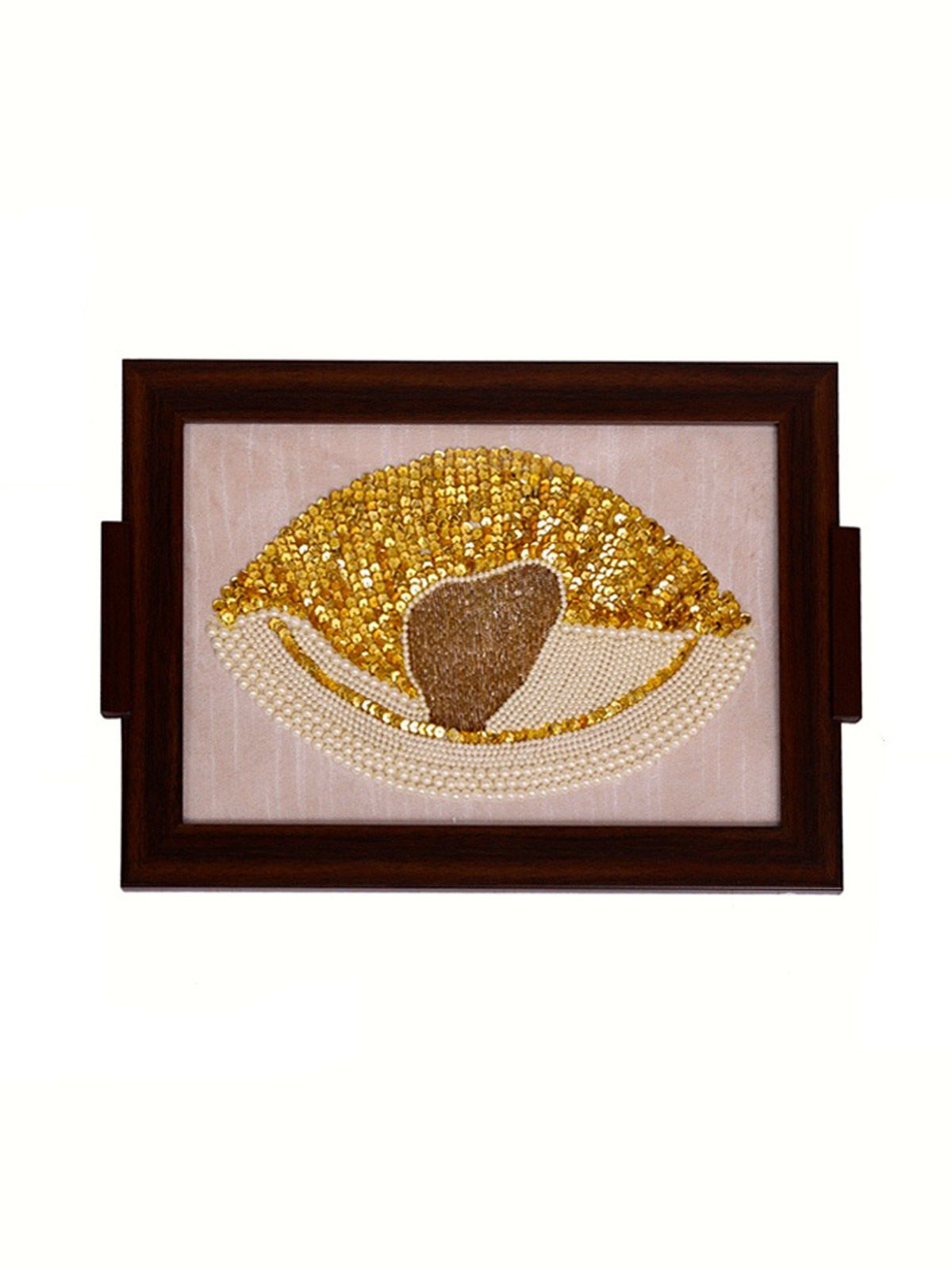 Hand Embroidered Pearl Design Tray For Tea Food Server Dishes