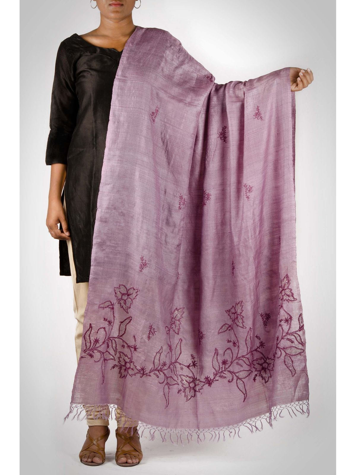 purple chikankari hand embroided dupatta