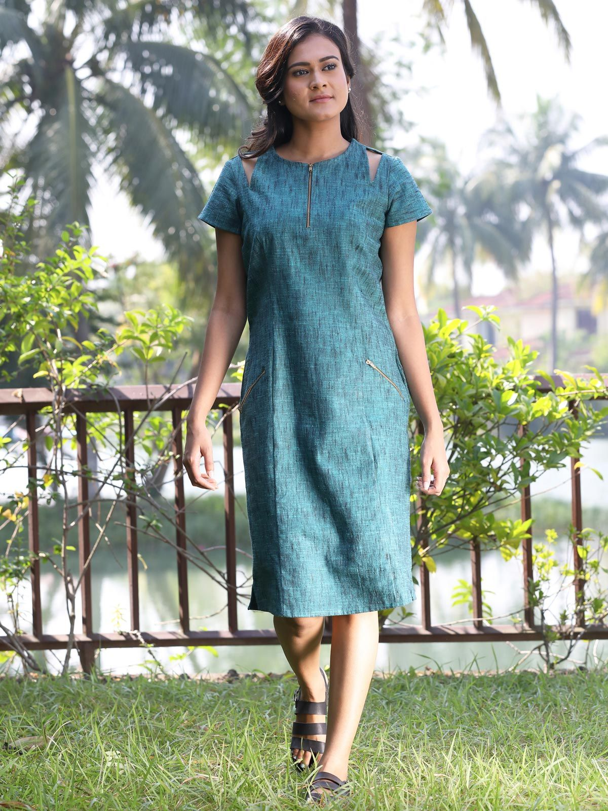 Teal diagonal patchwork cotton slub dress