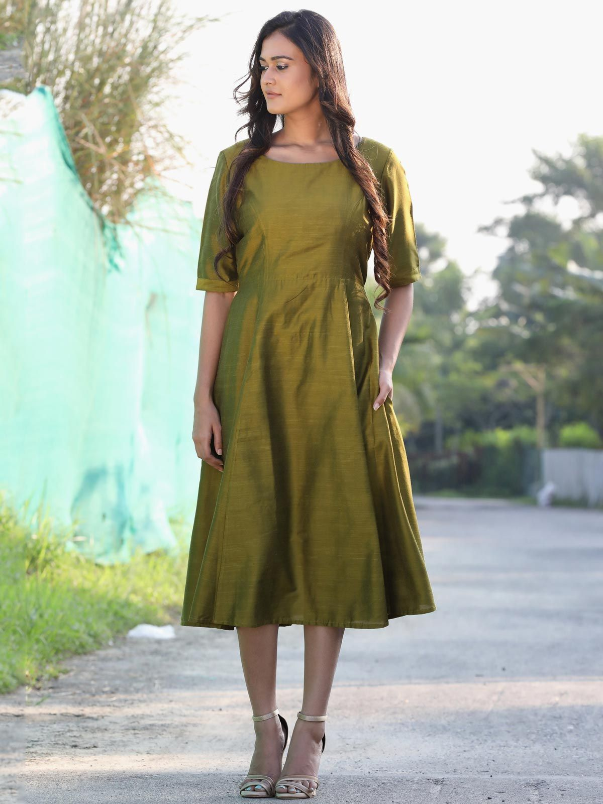 Moss green  cotton silk long dress