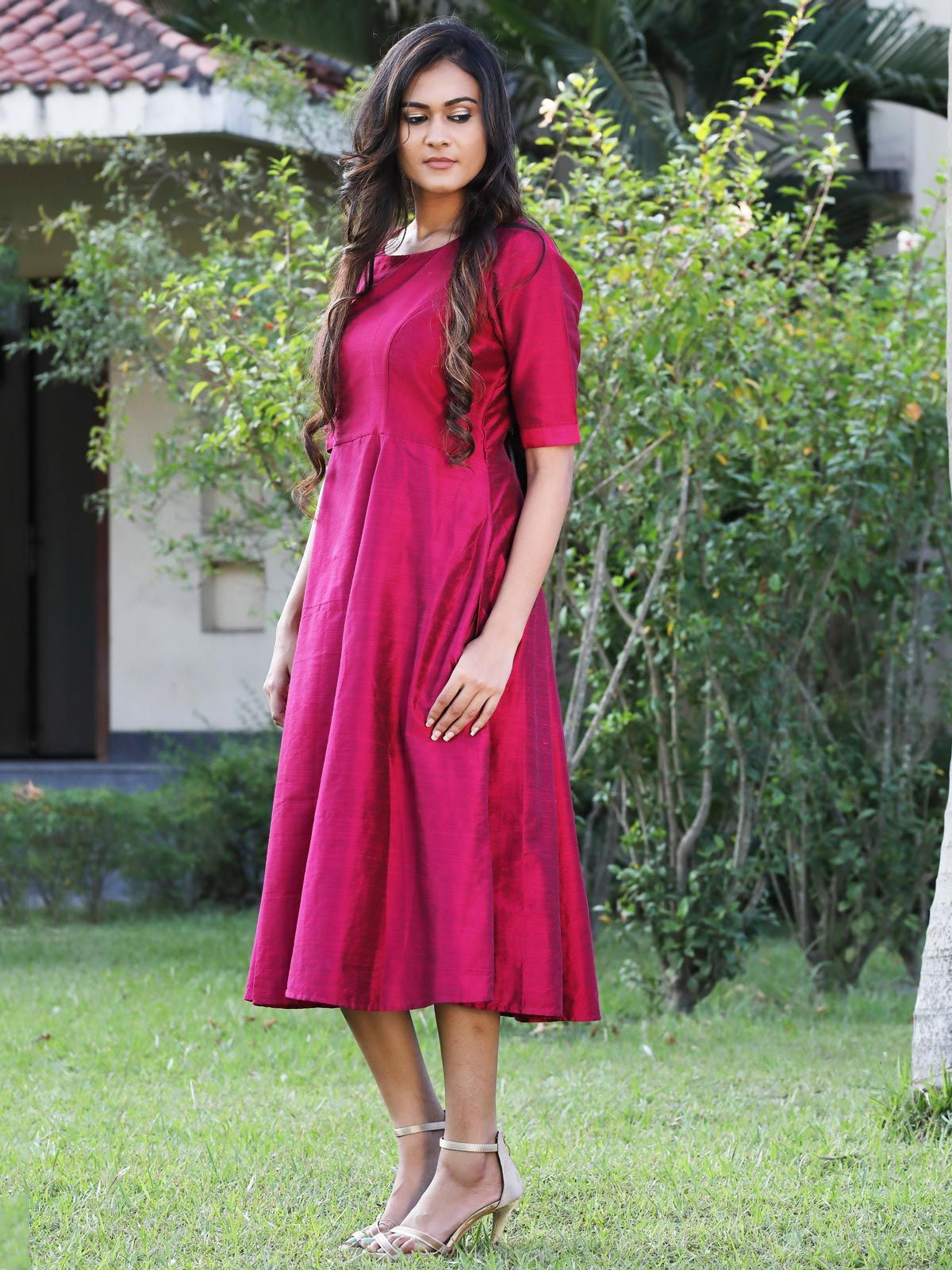 Berry pink cotton silk long dress