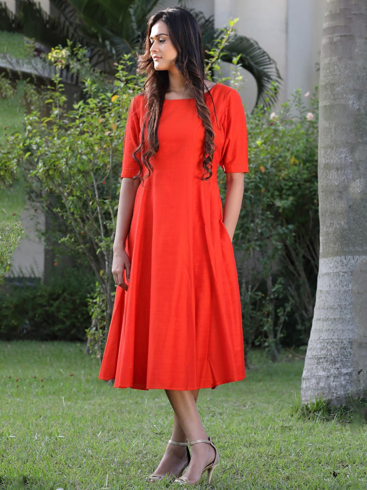 Flaming orange cotton silk long dress