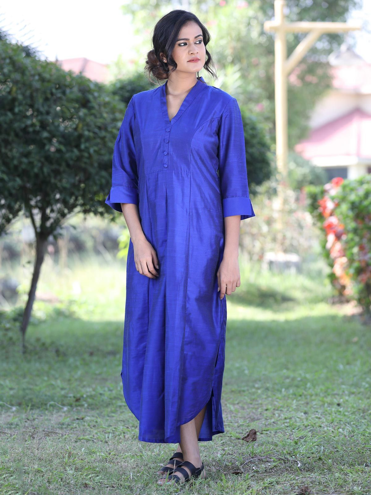 Royal blue cotton silk long dress