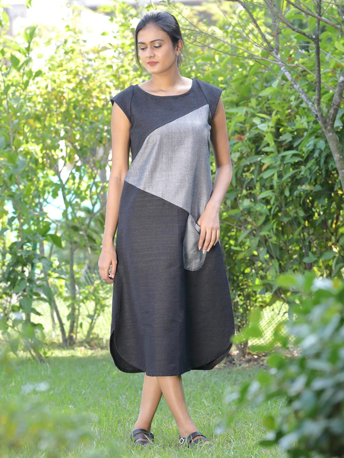 Black and grey diagonal patchwork dress with contrast pocket