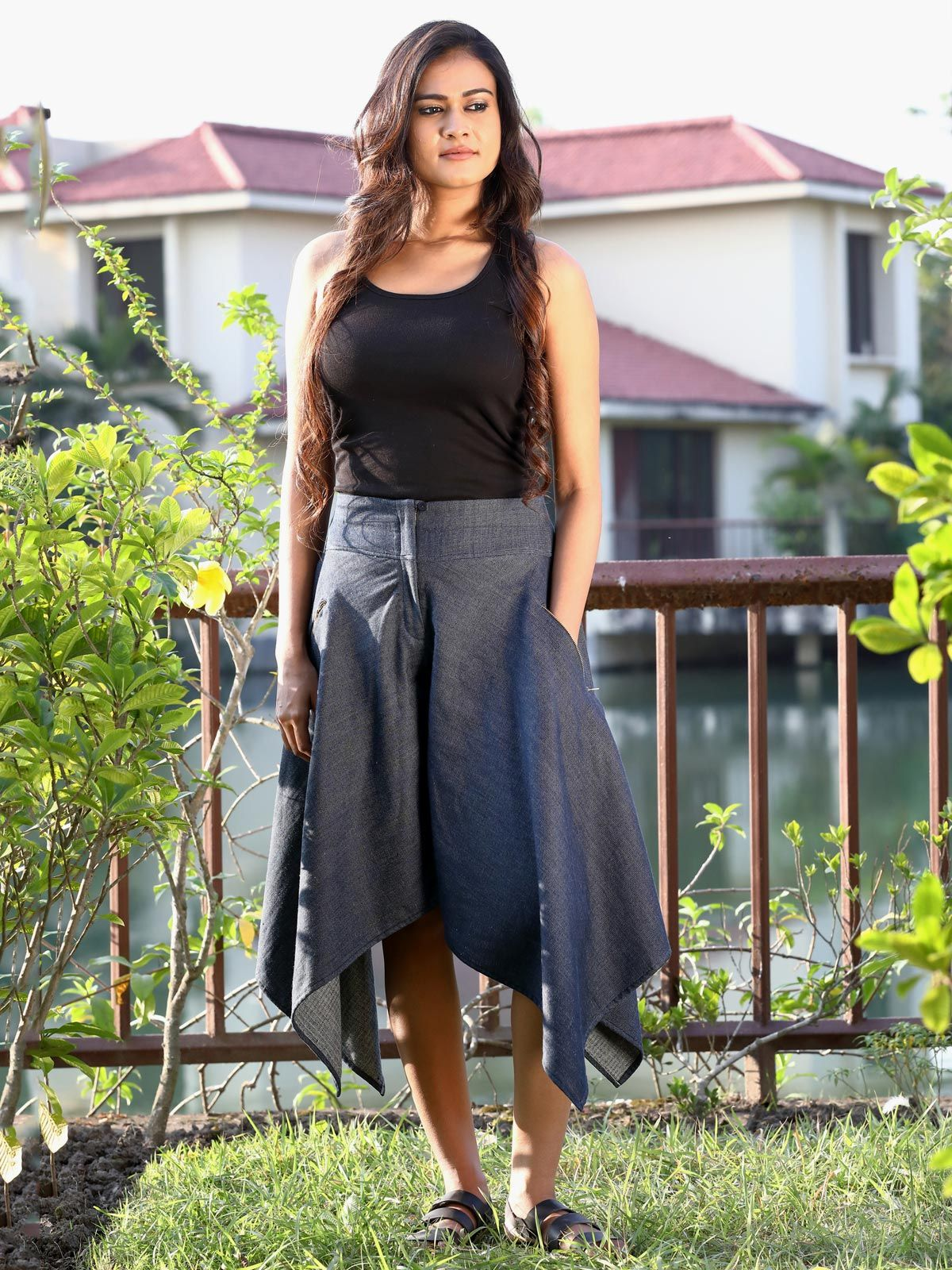 Blue handloom cotton silk falred skirt