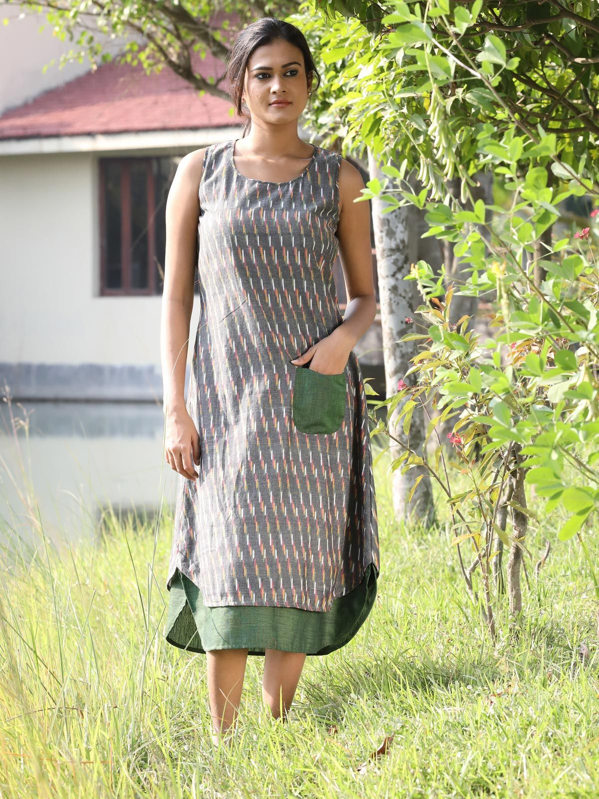 Grey color ikat dress with contrast pocket