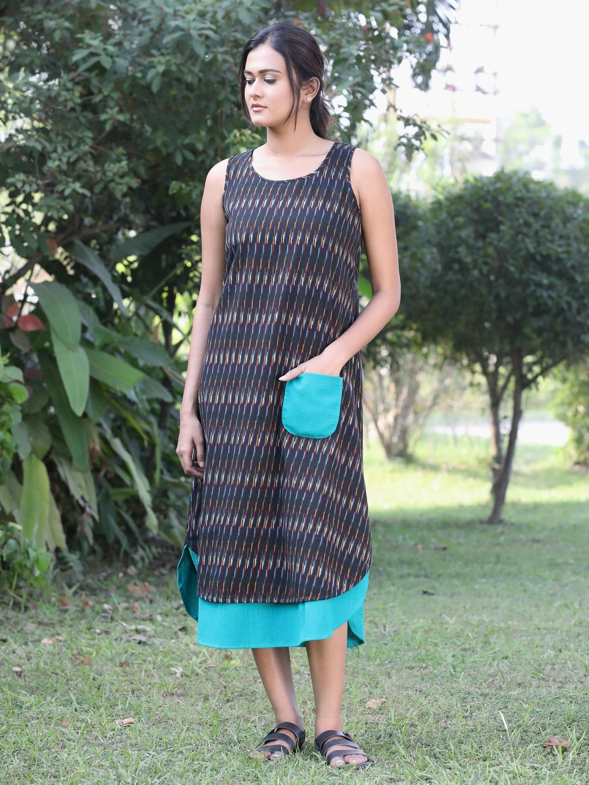 Black color ikat dress with contrast pocket
