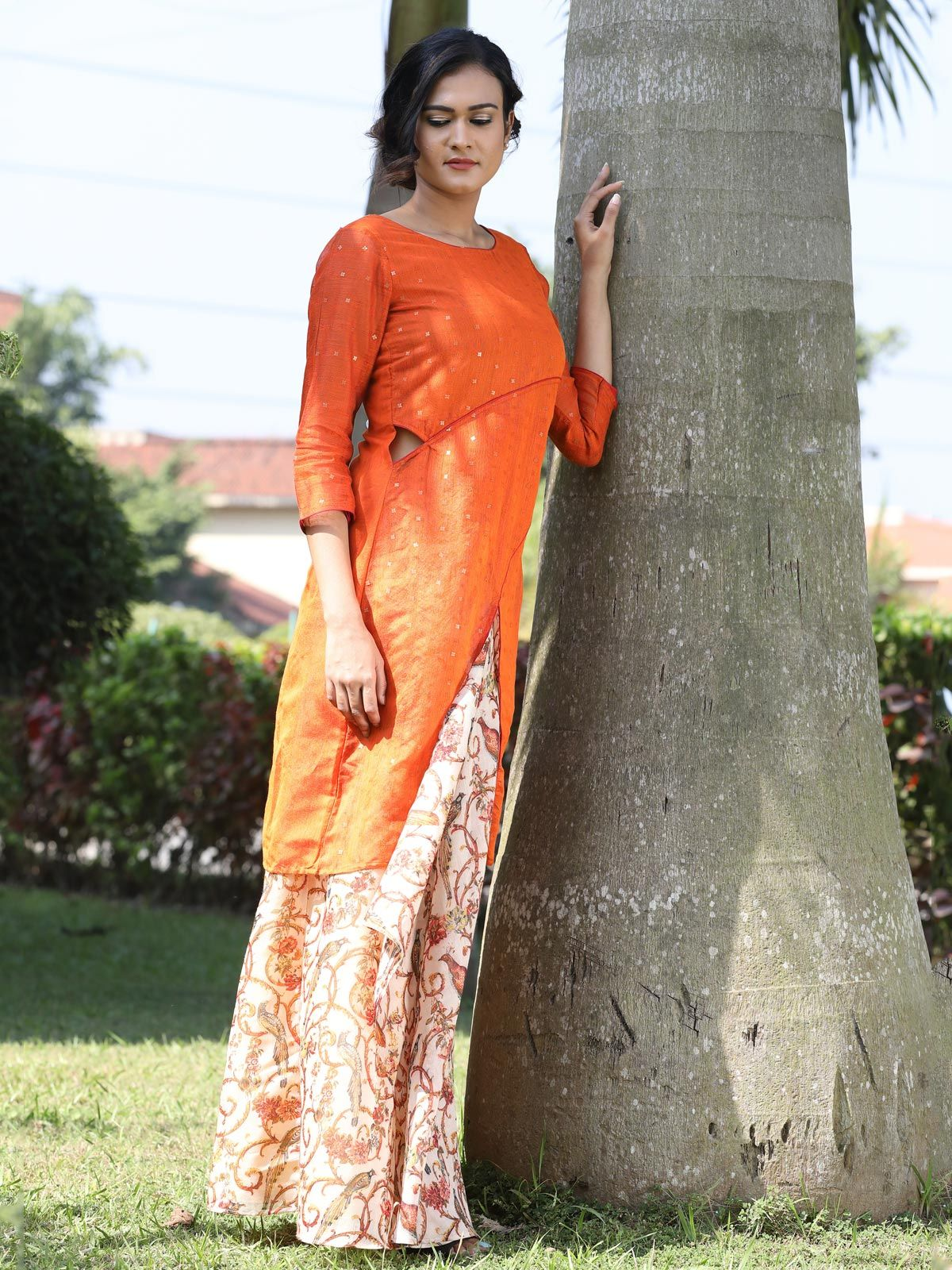 Orange handwoven silk tunic and chanderi skirt