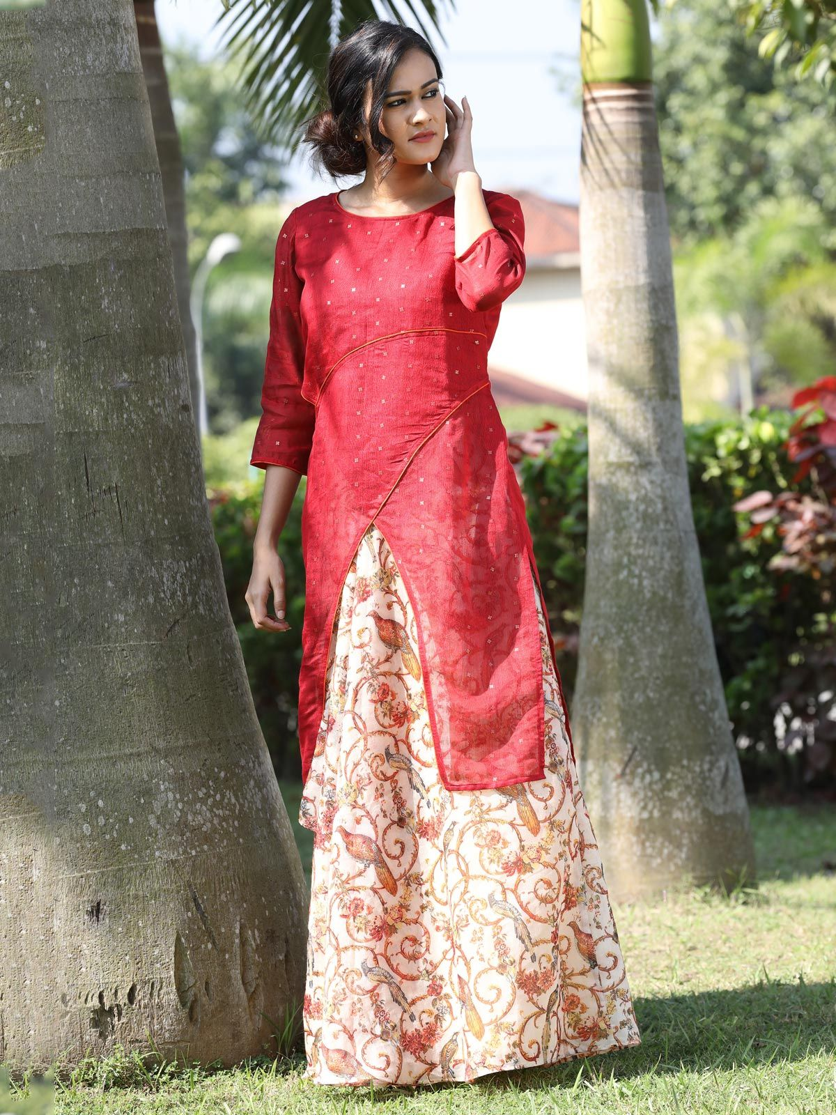 Red handwoven silk tunic and chanderi skirt