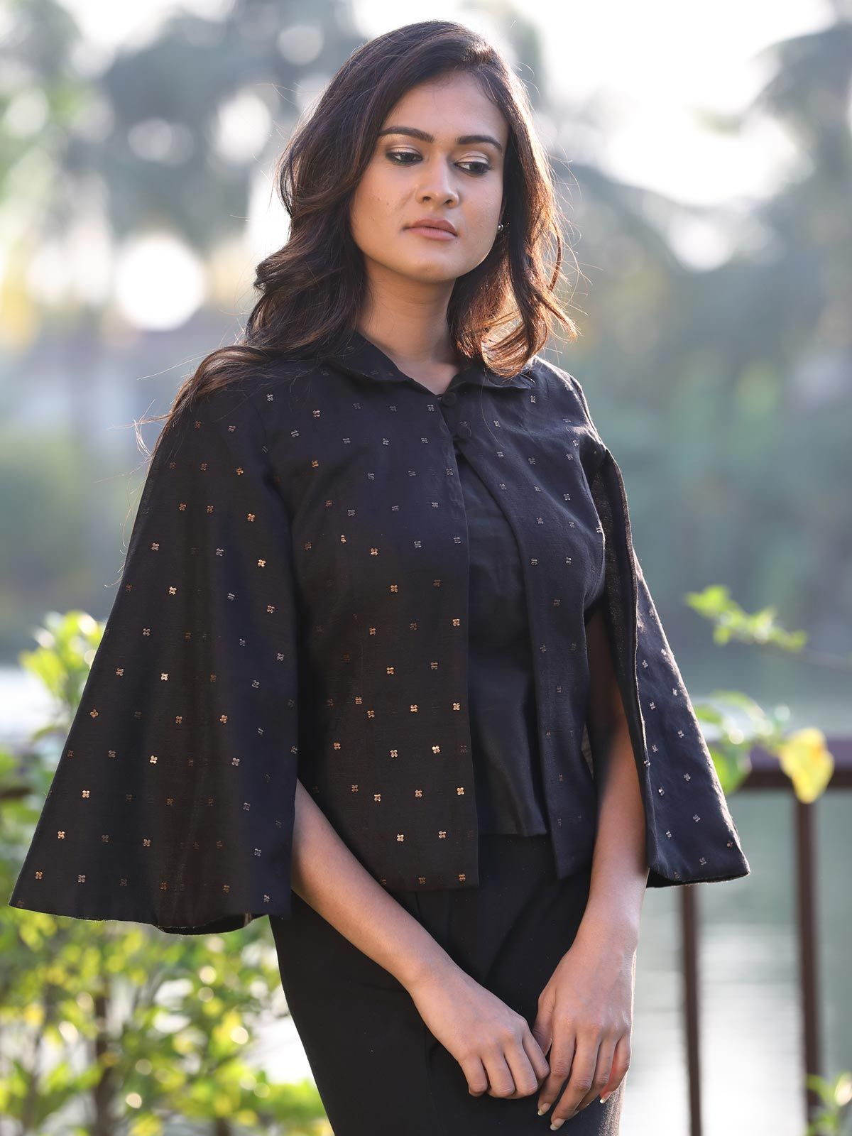 Black handloom cotton silk cape jacket