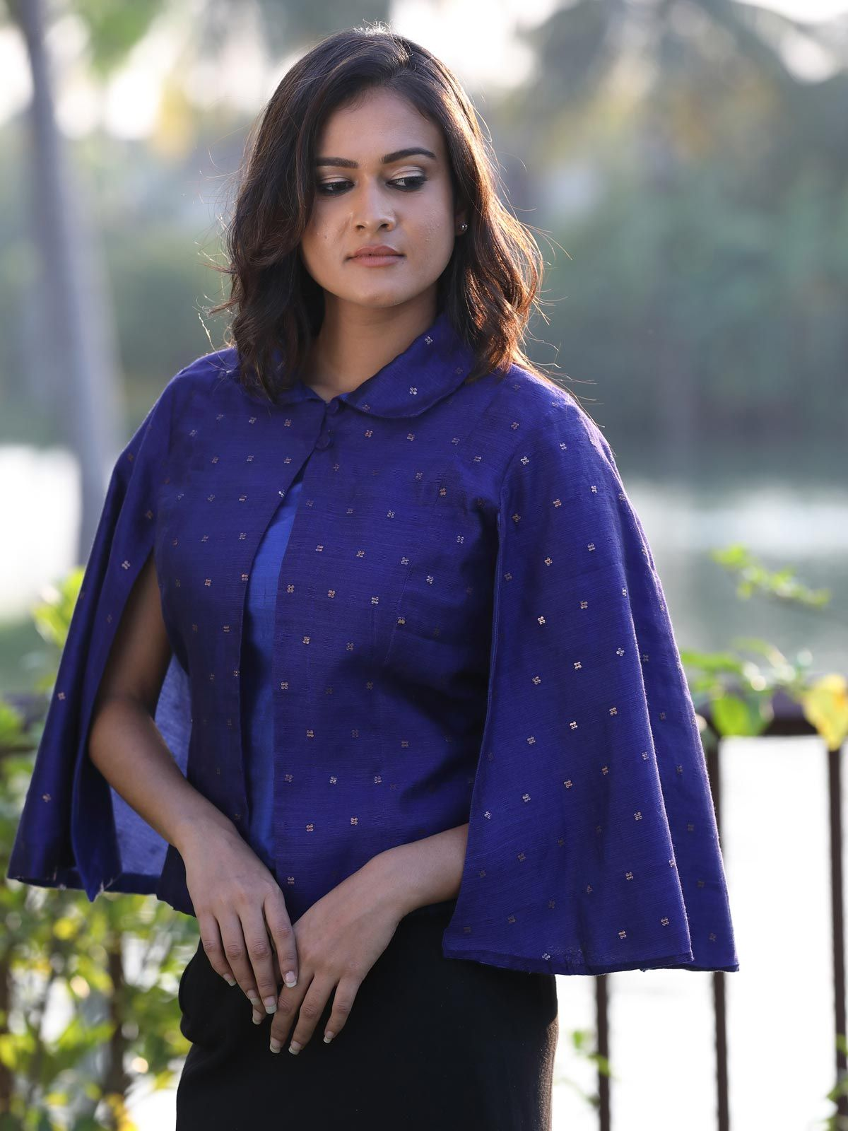 Royal blue handloom cotton silk cape jacket